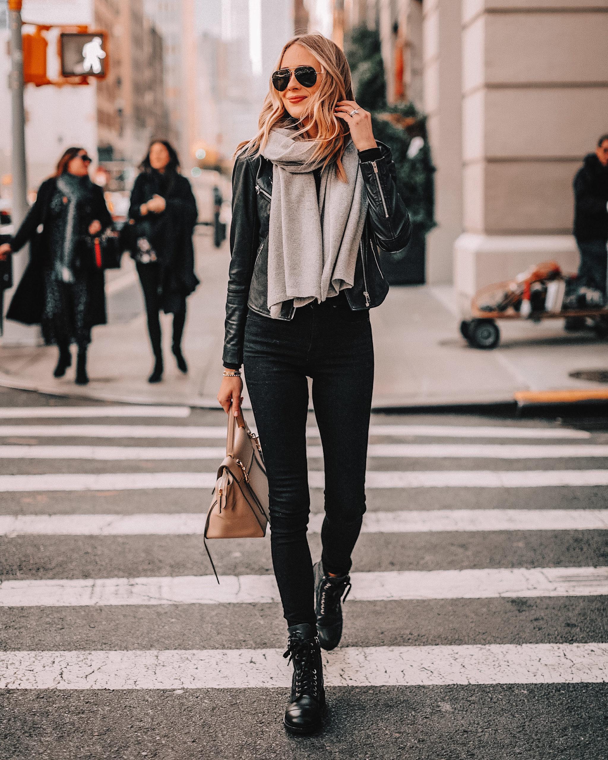 Fashion Jackson Wearing Black Leather Jacket Grey Scarf Black Jeans Black Combat Boots Grey Scarf NYC