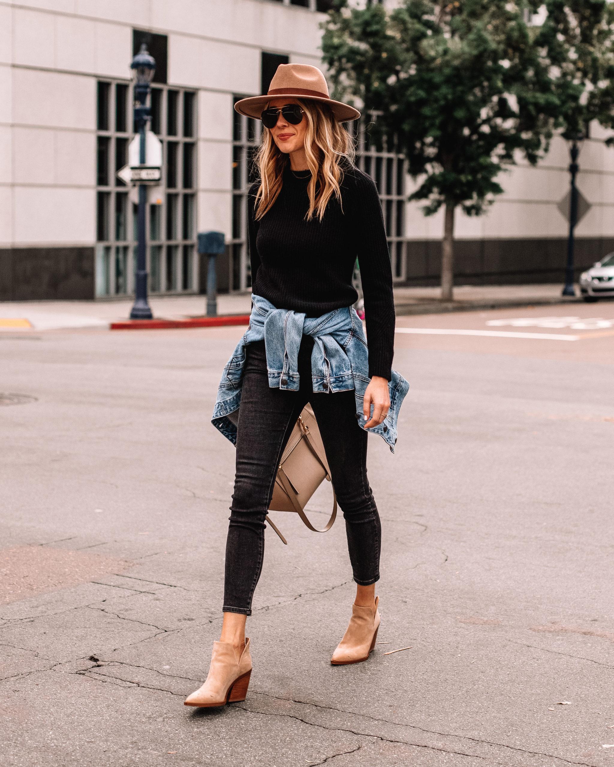 Fashion Jackson Wearing Black Sweater Black Jeans Tan Booties Denim Jacket Brown Wide Brim Hat