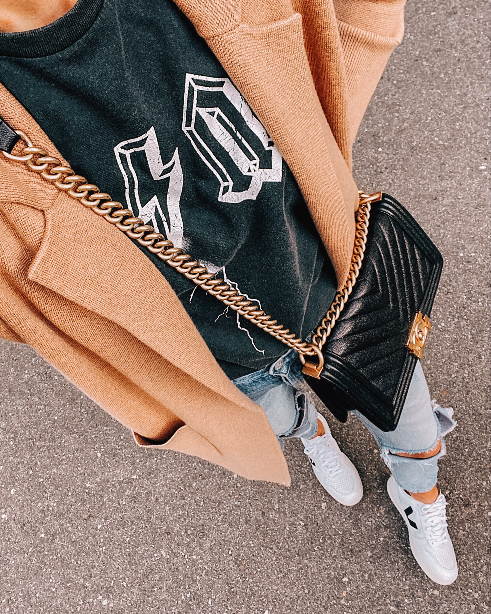 Fashion Jackson Wearing Camel Sweater Anine Bing Tshirt Ripped Jeans Veja Sneakers Chanel Boy Bag
