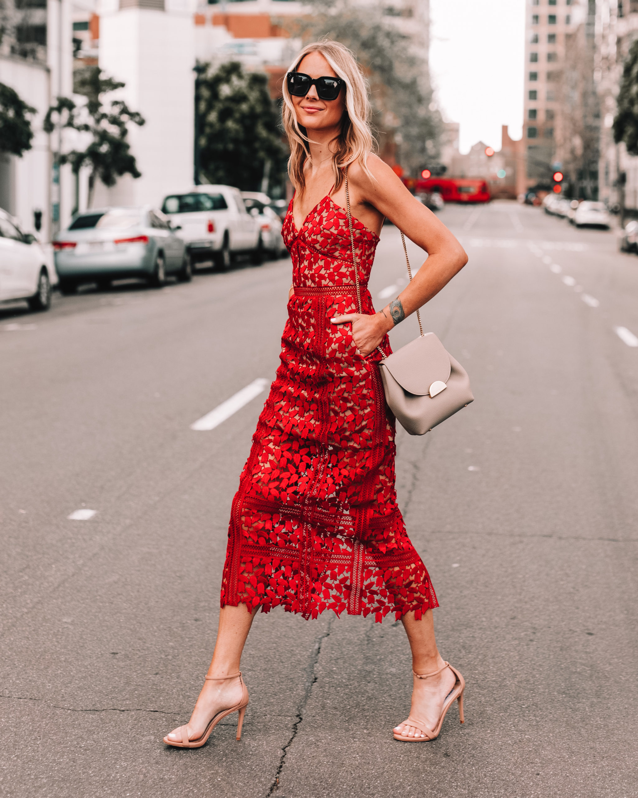 Fashion Jackson Wearing Self Portrait Red Lace Midi Dress