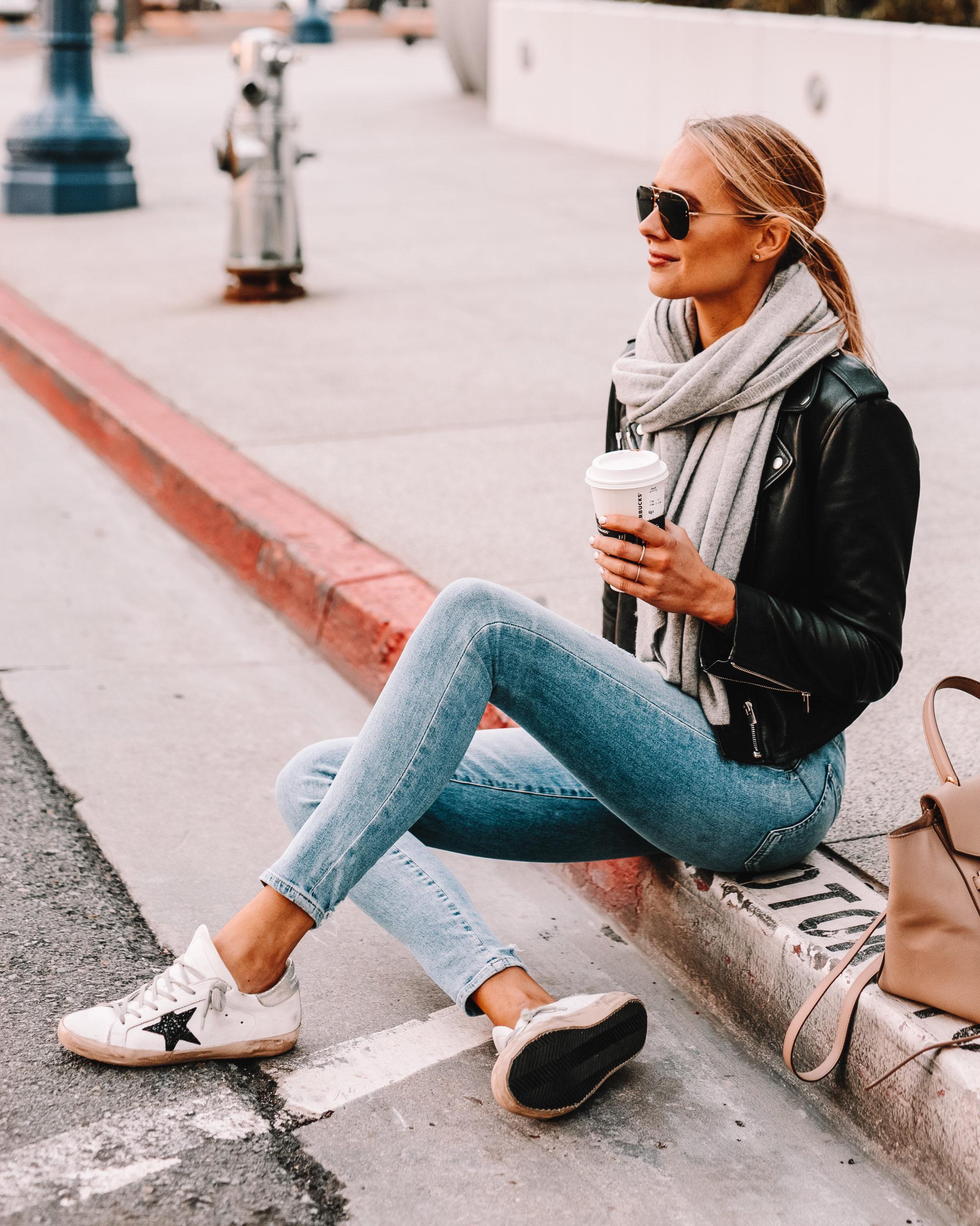 Fashion Jackson Wearing Black Leather Jacket Grey Scarf Skinny Jeans Golden Goose Sneakers