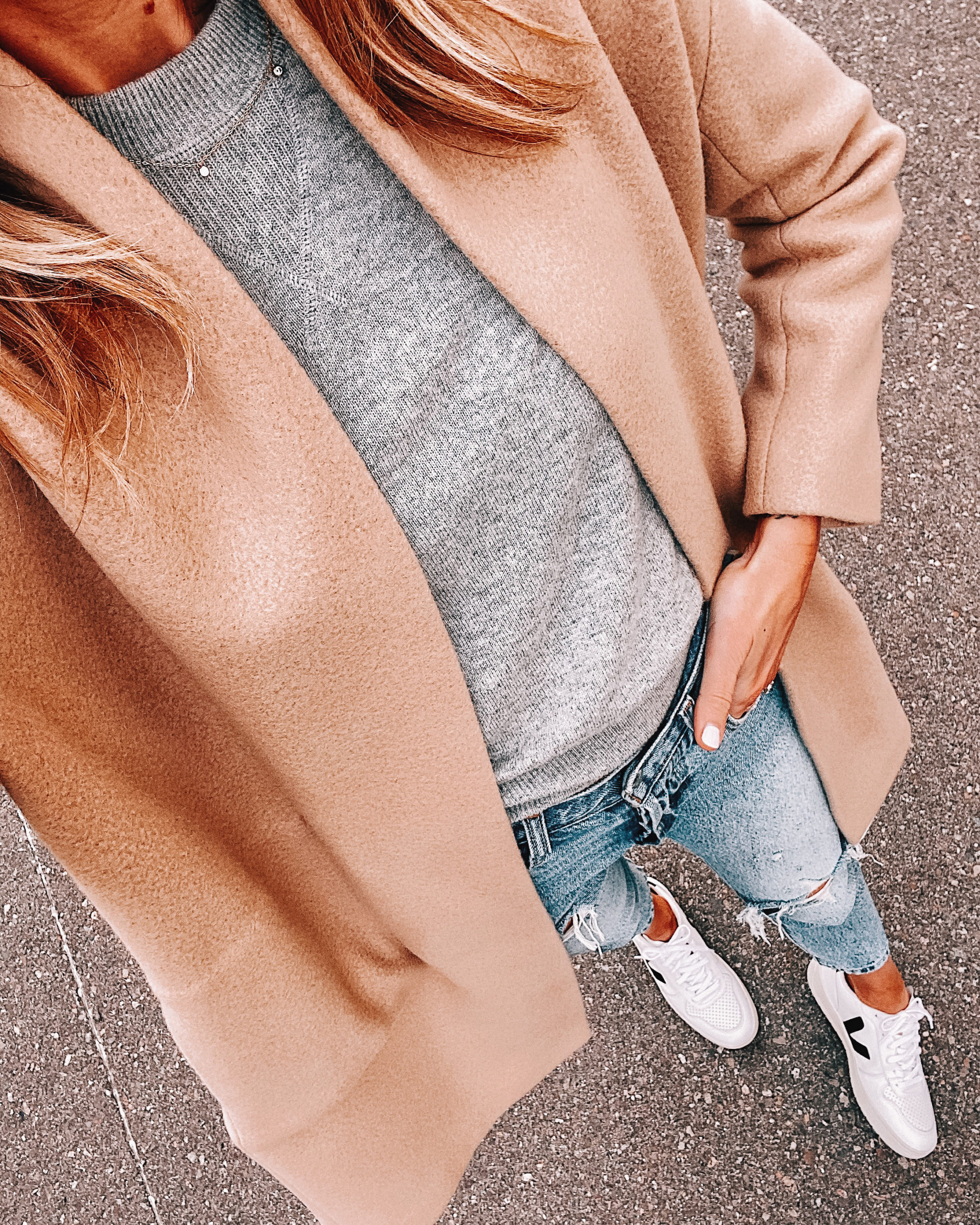 Fashion Jackson Wearing Camel Coat Grey Sweater Ripped Jeans Veja Sneakers