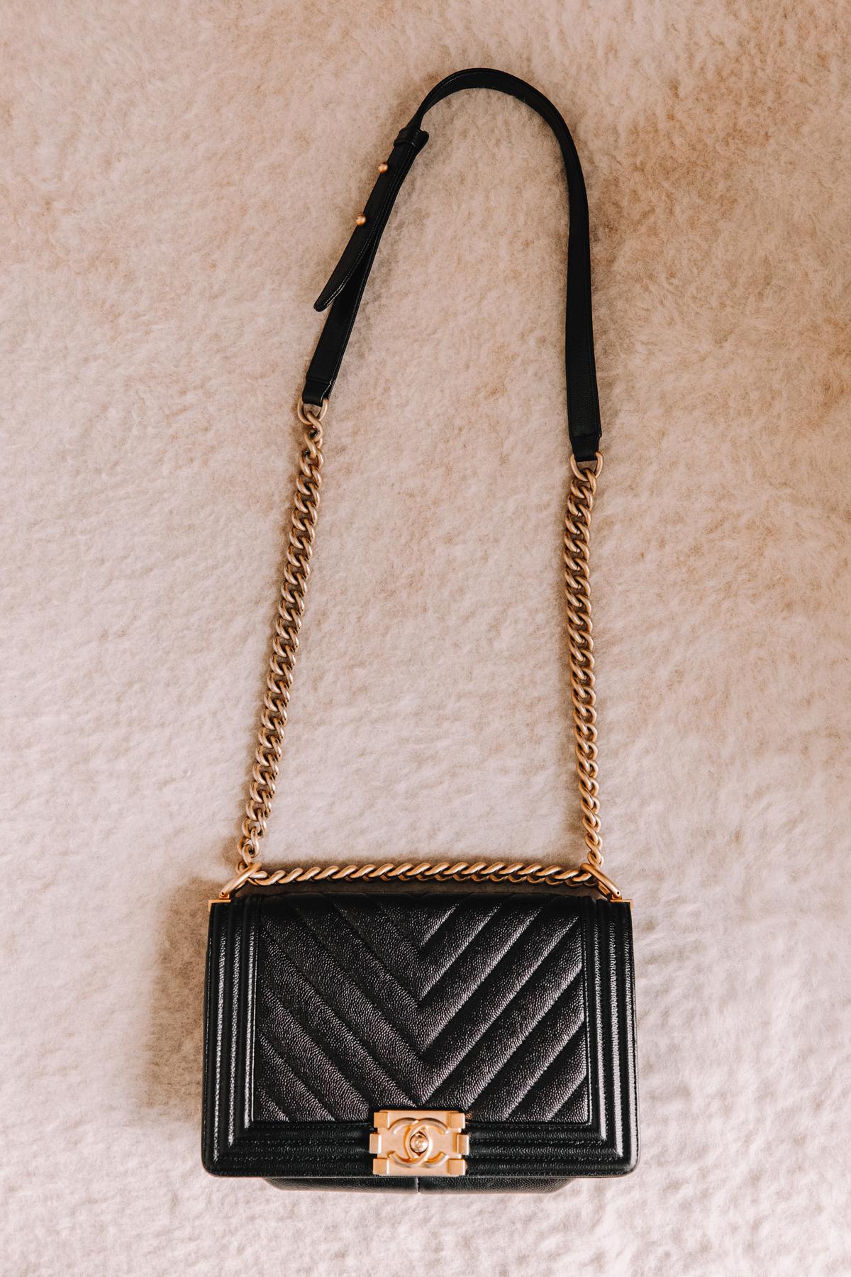 Fashion Jackson Chanel Boy Bag Chevron Old Medium Black 2