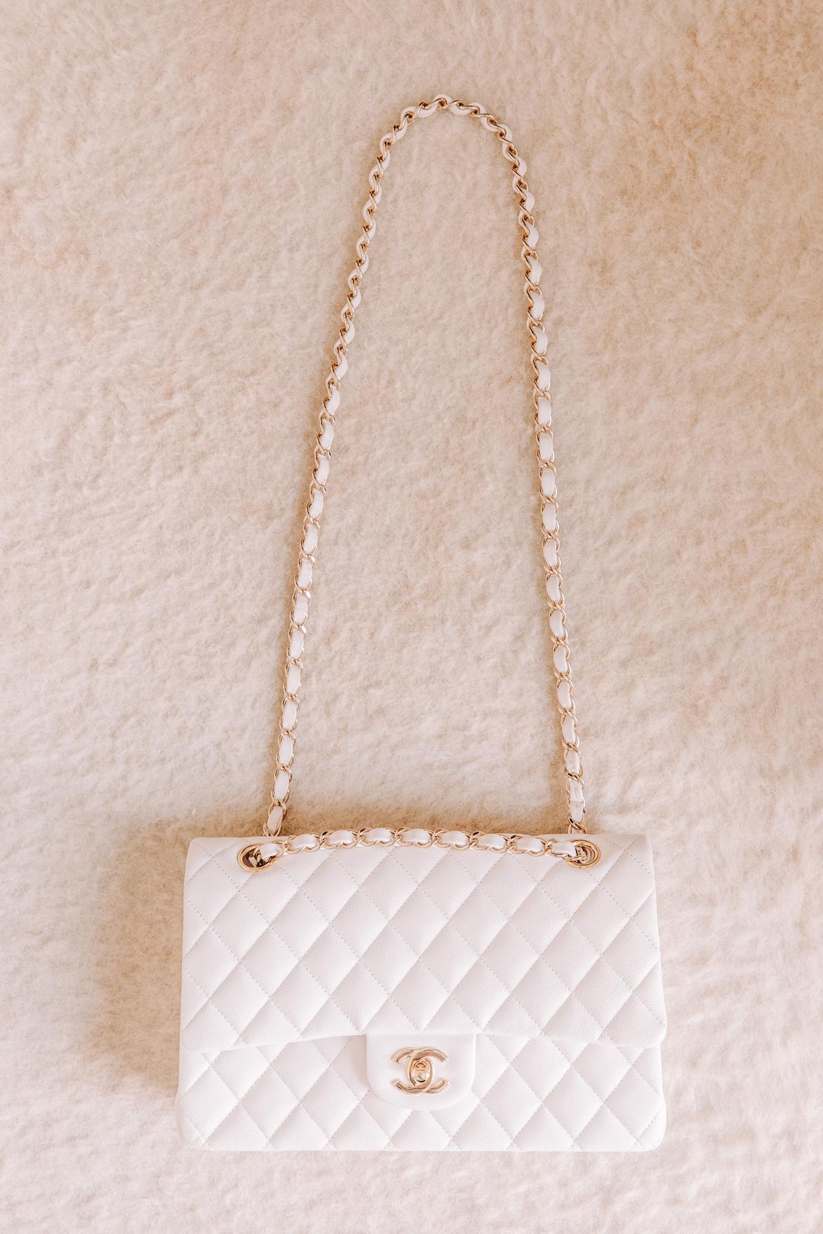 Fashion Jackson Chanel Classic Flap Medium White Handbag with Gold Hardware