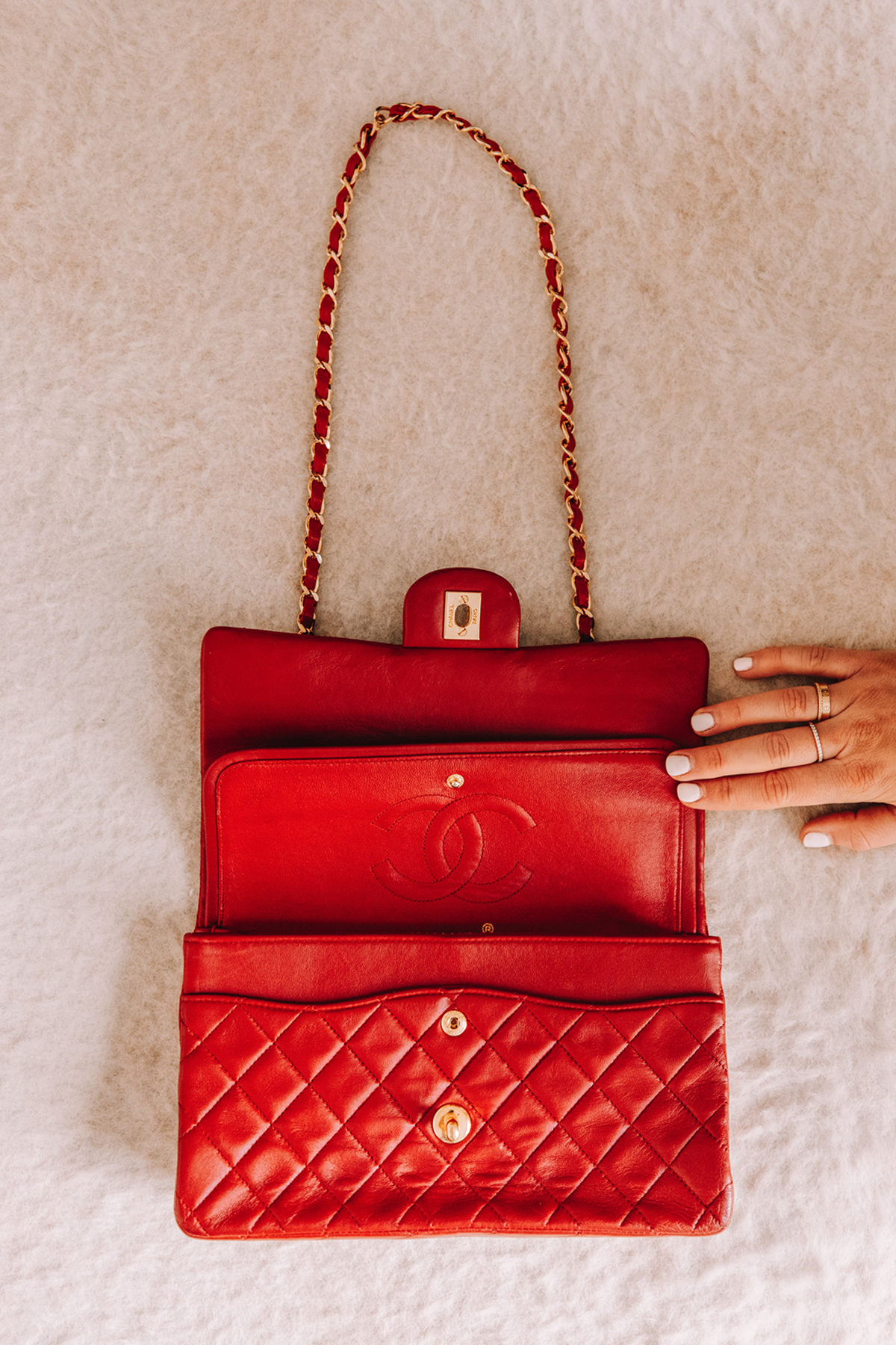 Fashion Jackson Chanel Lambskin Quilted Medium Double Flap Red 1