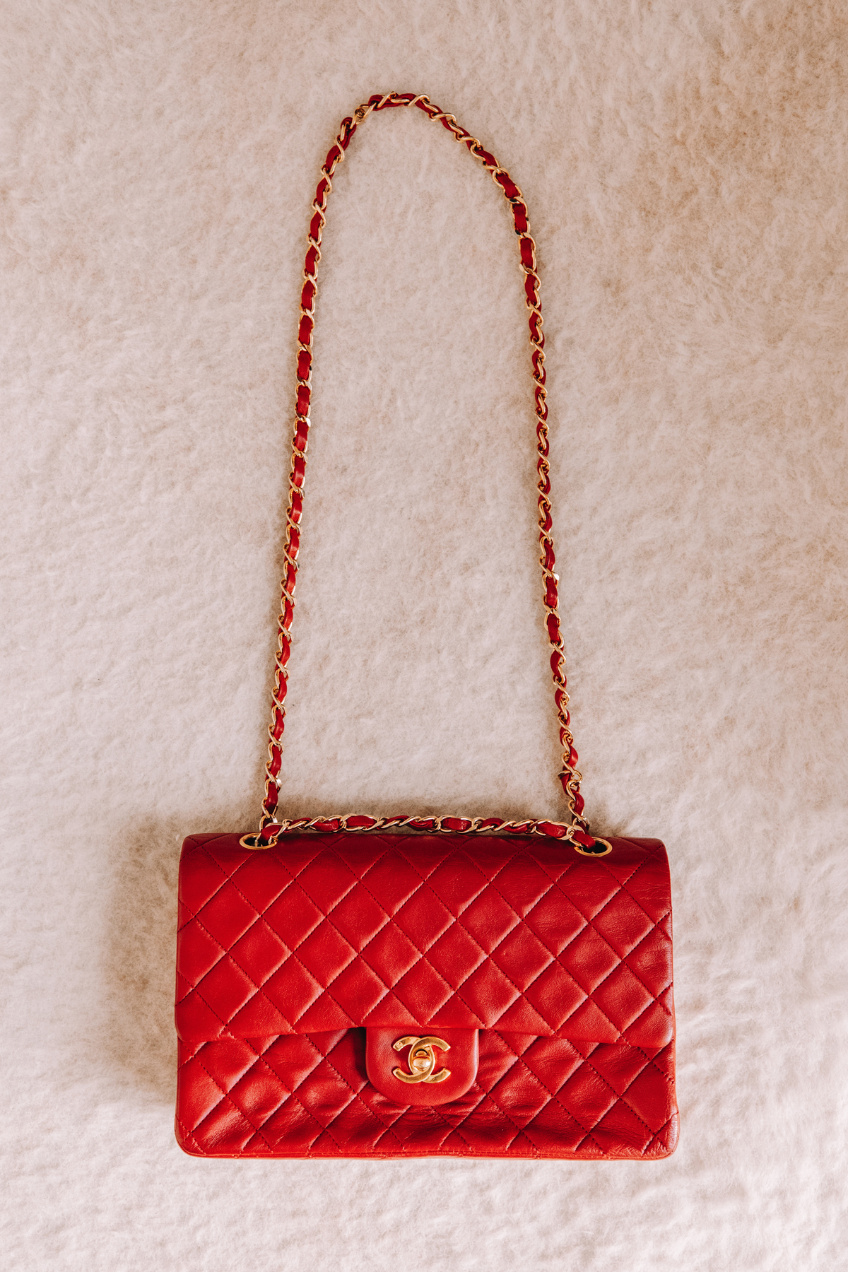 Fashion Jackson Chanel Lambskin Quilted Medium Double Flap Red