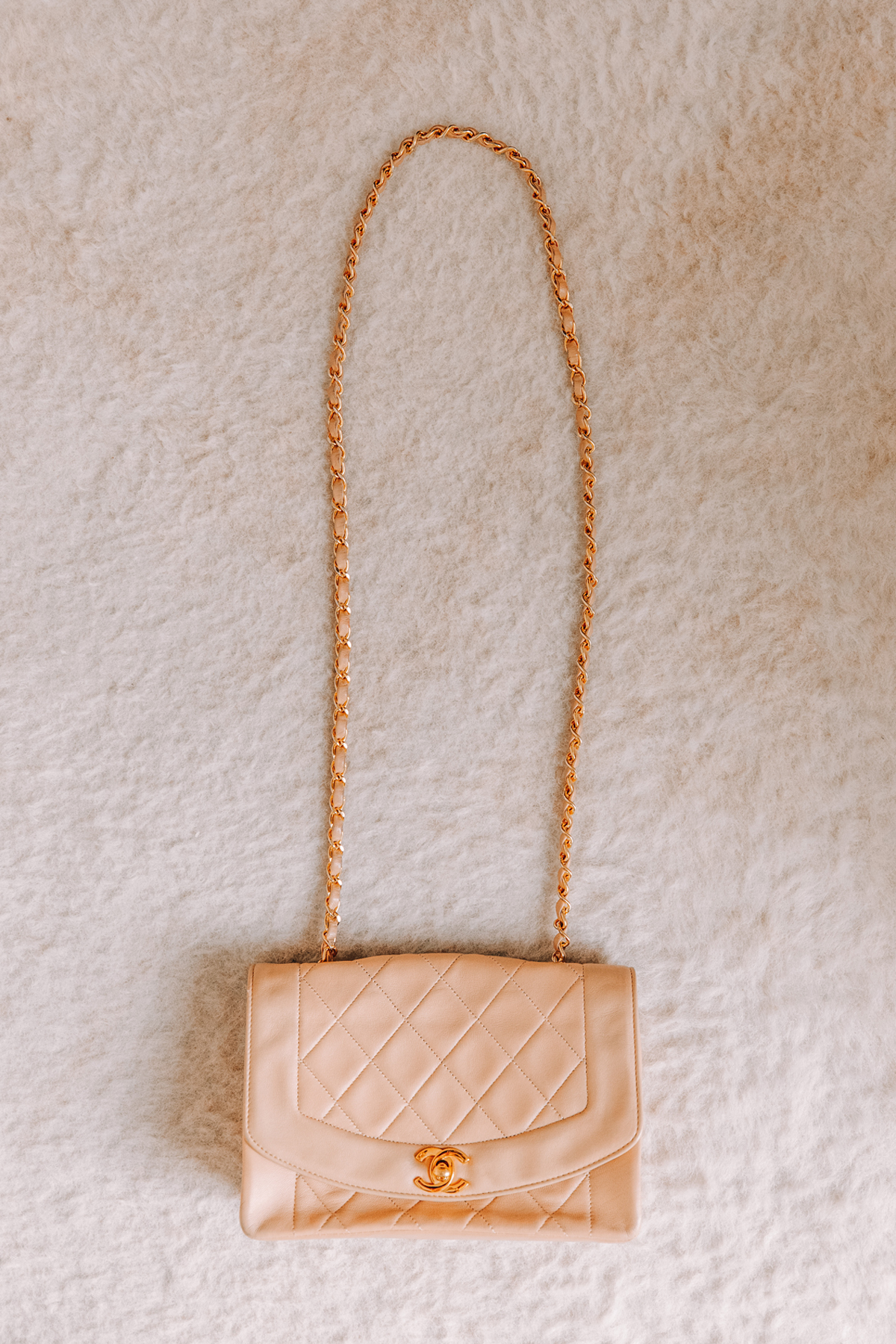 Fashion Jackson Chanel Lambskin Quilted Small Single Flap Beige
