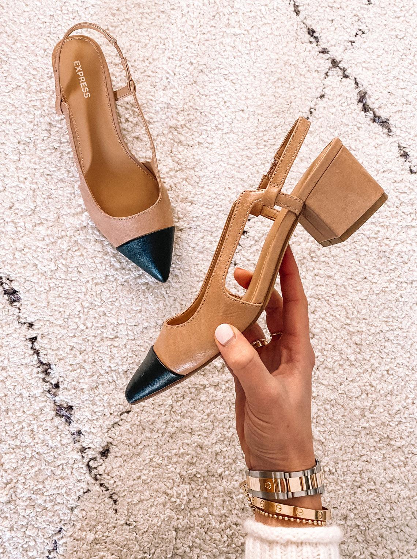 Fashion Jackson Express Cap Toe Black Heel Slingbacks
