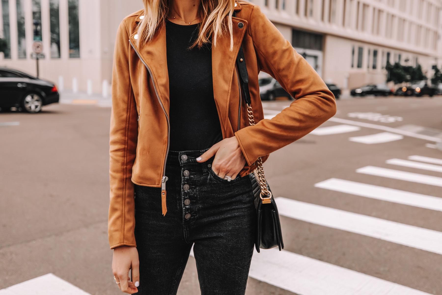 Fashion Jackson Wearing Abercrombie Tan Suede Moto Jacket Black Button Front Jeans 1