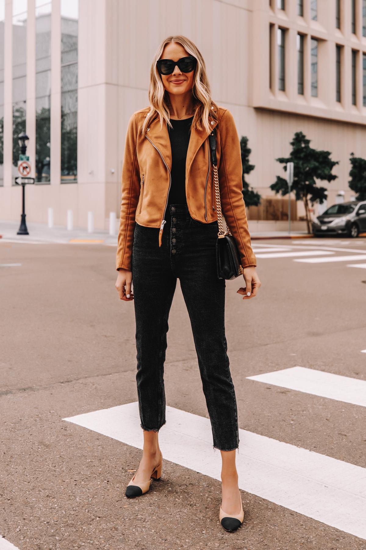 Fashion Jackson Wearing Abercrombie Tan Suede Moto Jacket Black Button Front Jeans Chanel Slingback Shoes 1