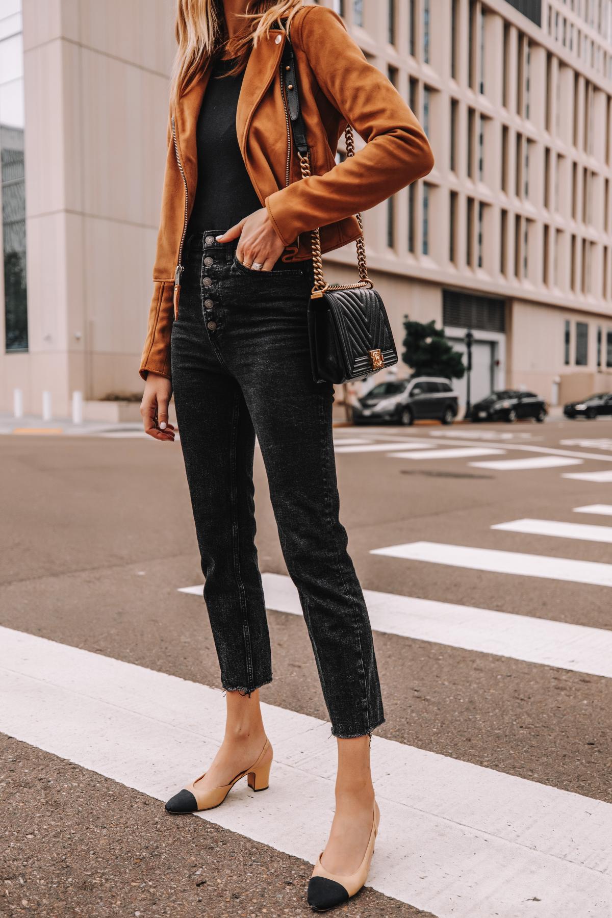 Fashion Jackson Wearing Abercrombie Tan Suede Moto Jacket Black Button Front Jeans Chanel Slingback Shoes