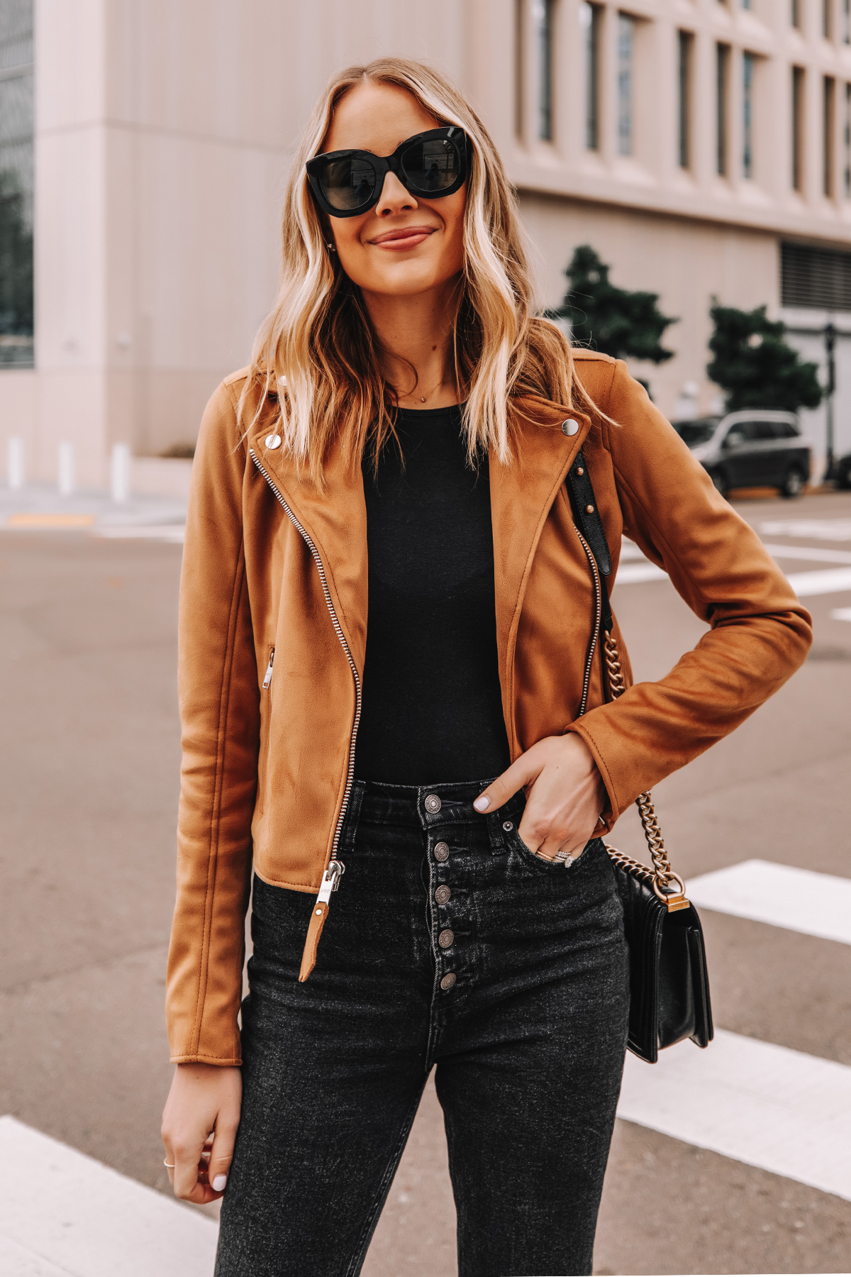 Fashion Jackson Wearing Abercrombie Tan Suede Moto Jacket Black Button Front Jeans