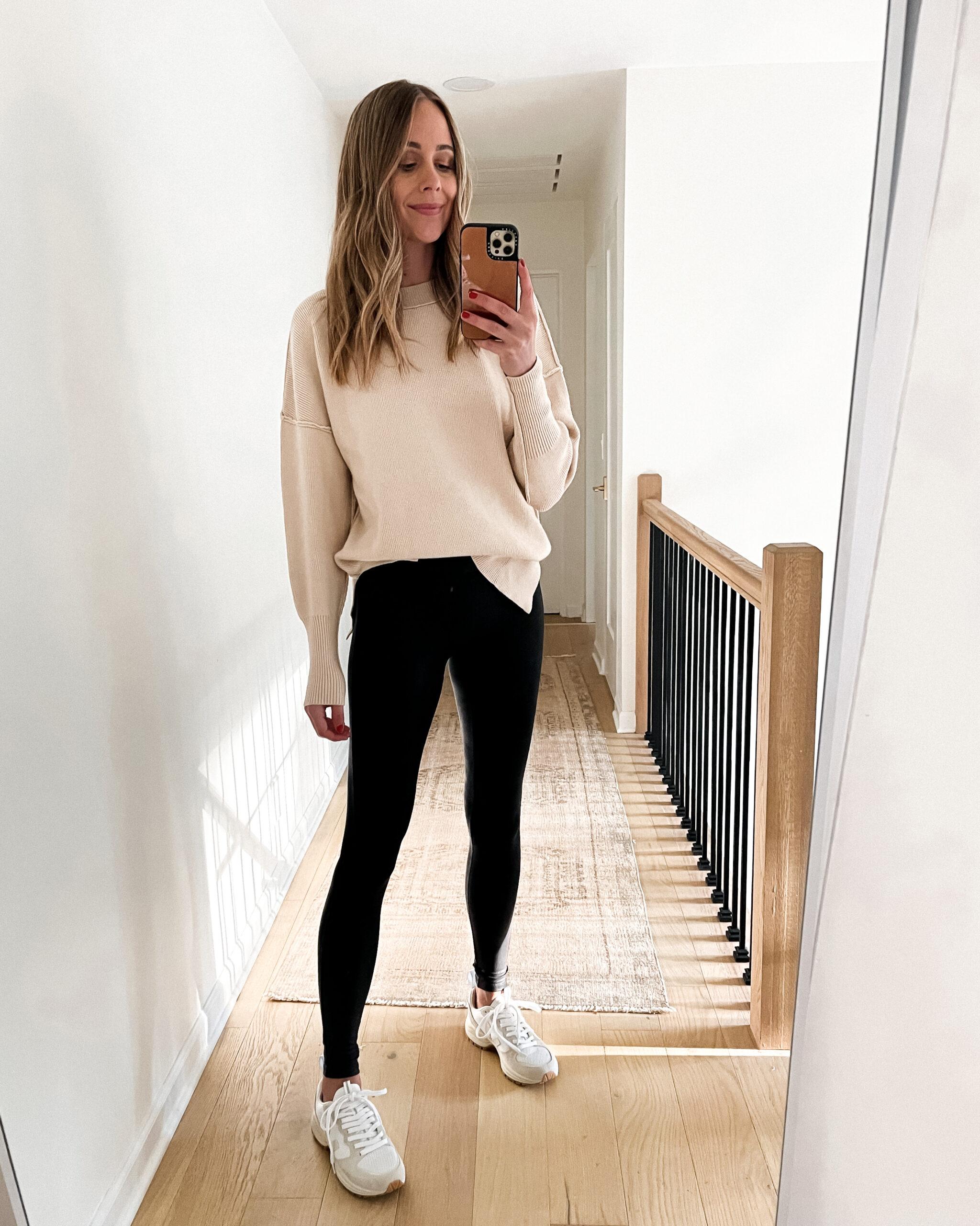 Fashion Jackson Wearing Amazon Fashion Beige Sweater Black Leggings White Sneakers
