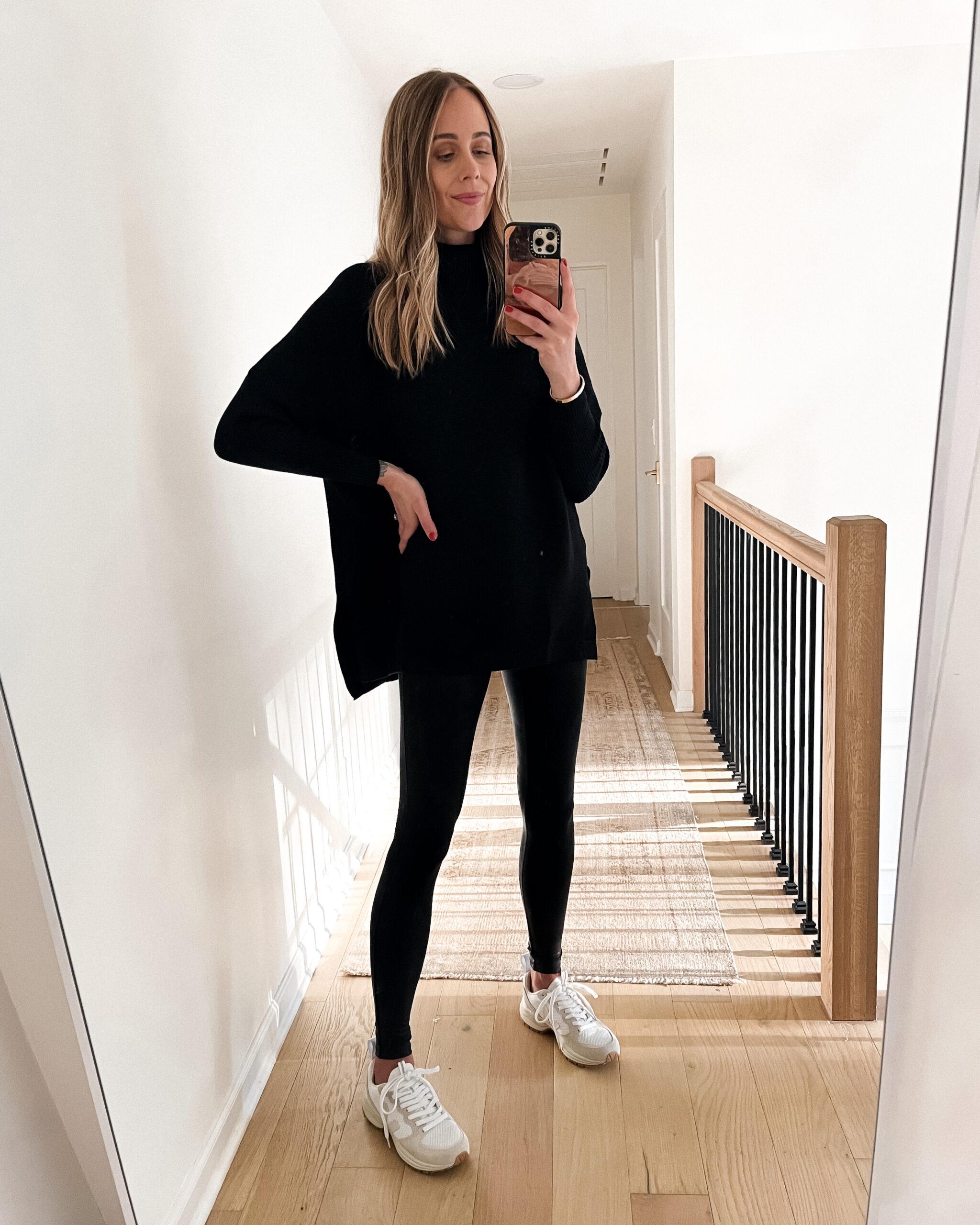 Fashion Jackson Wearing Amazon Fashion Black Tunic Turtleneck Sweater Black Leggings White Dad Sneakers