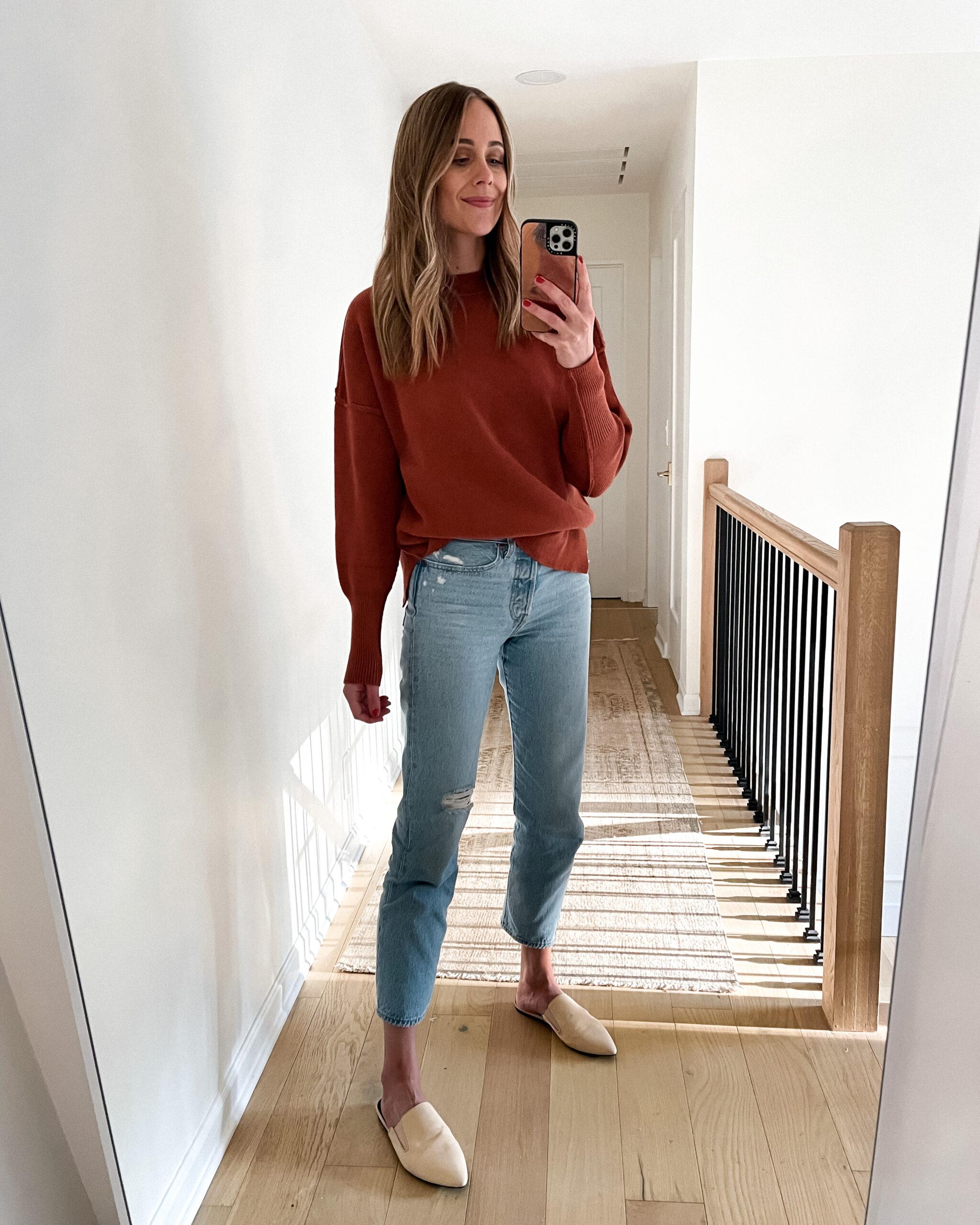 Fashion Jackson Wearing Amazon Fashion Brown Sweater Denim Jeans Beige Mules