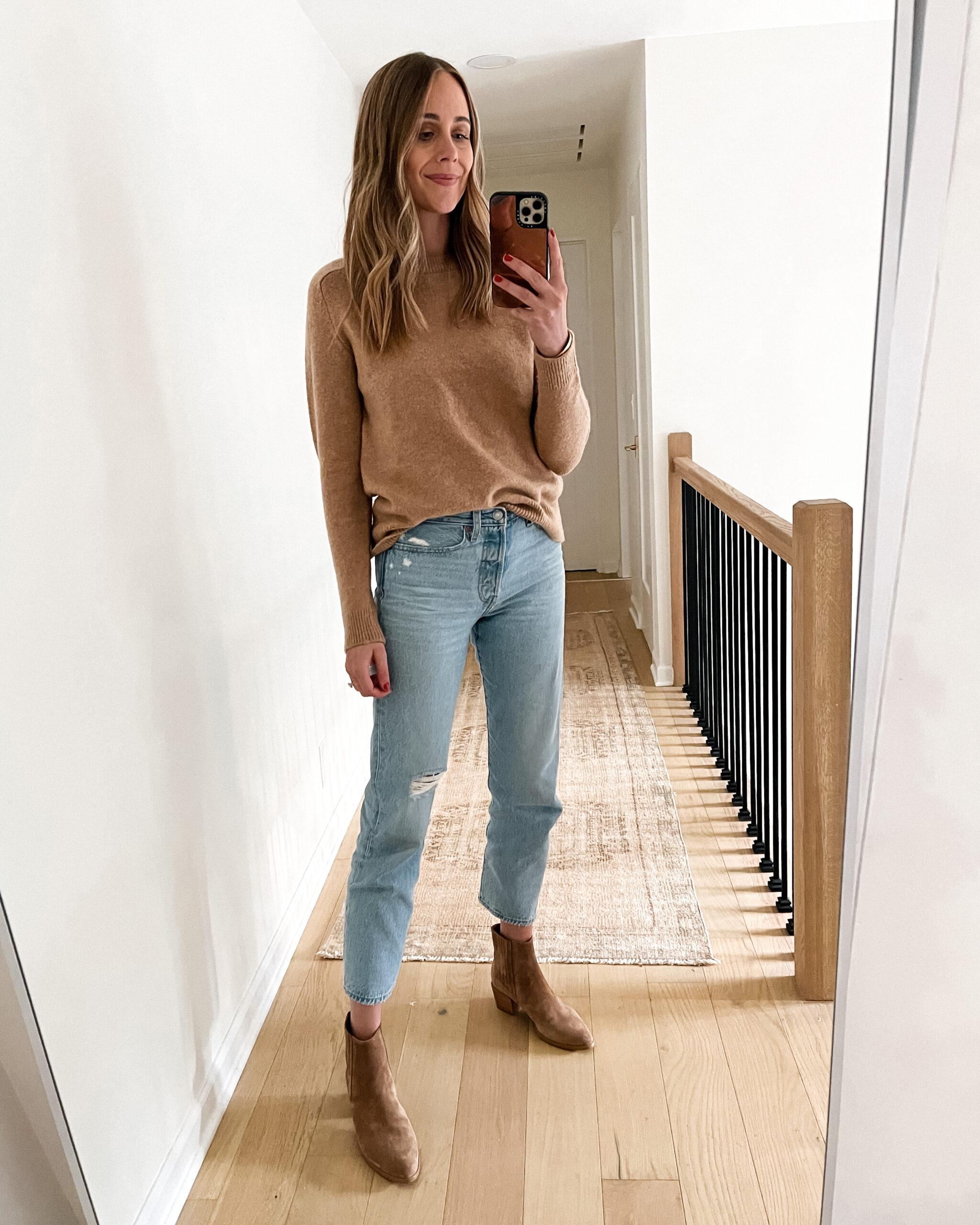 Fashion Jackson Wearing Amazon Fashion Camel Sweater Ripped Jeans Tan Booties