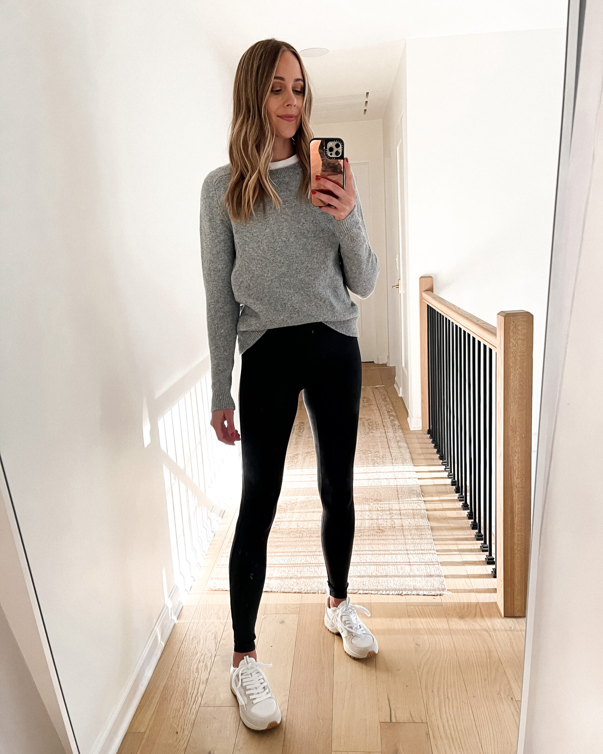 Fashion Jackson Wearing Amazon Fashion Grey Sweater Black Leggings White Dad Sneakers