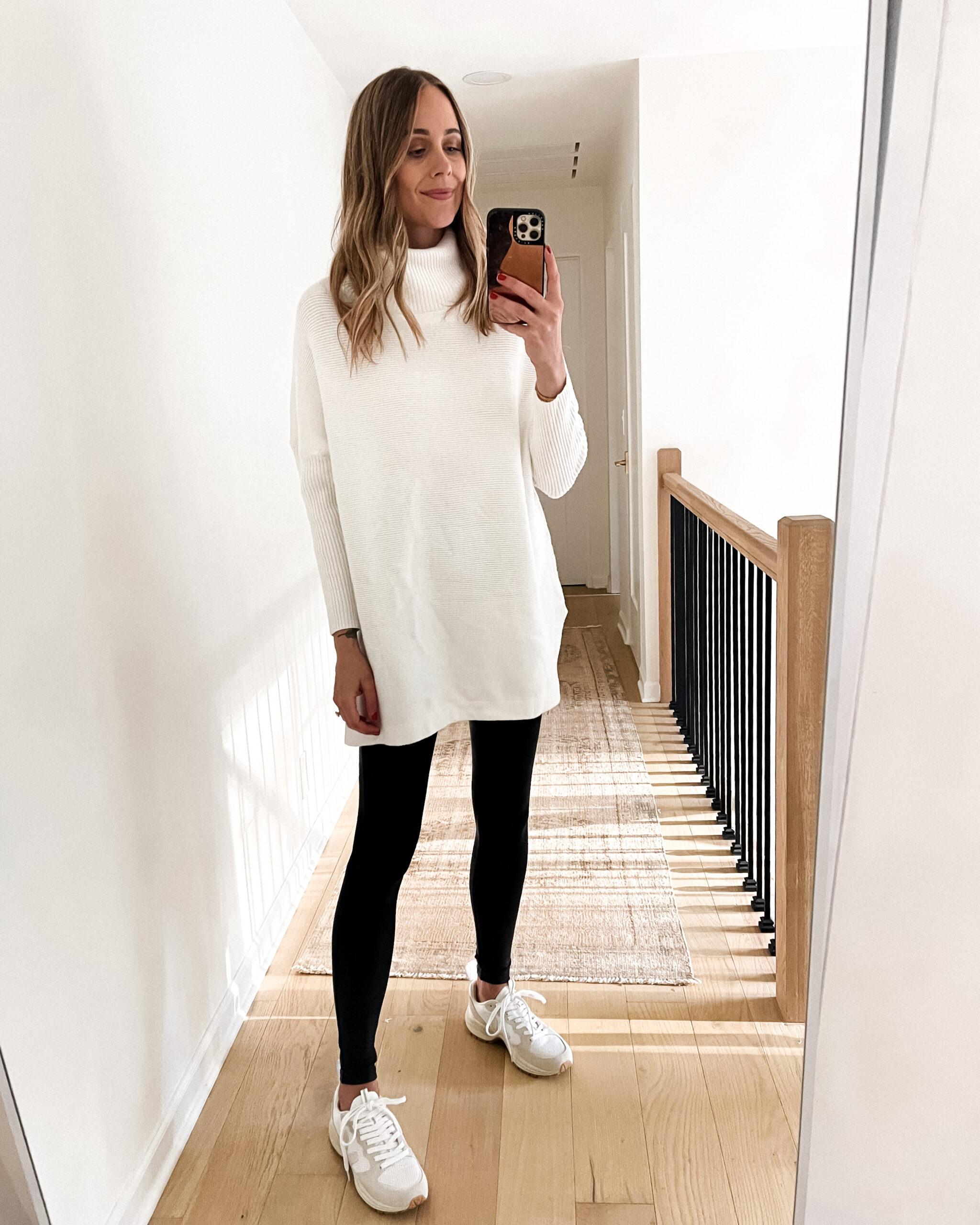 Fashion Jackson Wearing Amazon Fashion White Tunic Turtleneck Sweater Black Leggings White Dad Sneakers