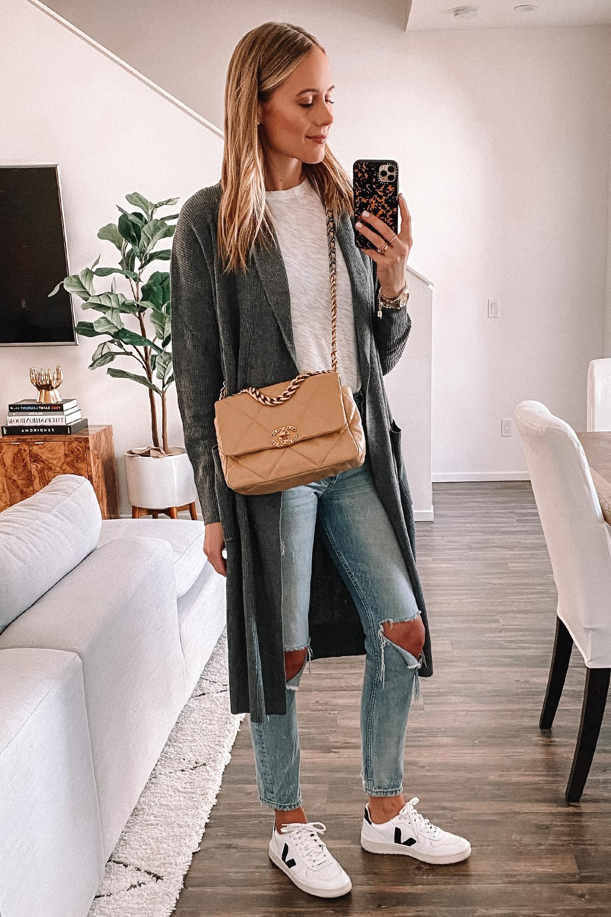 Fashion Jackson Wearing Amazon Sweater Long Grey Cardigan Ripped Jeans Veja Sneakers