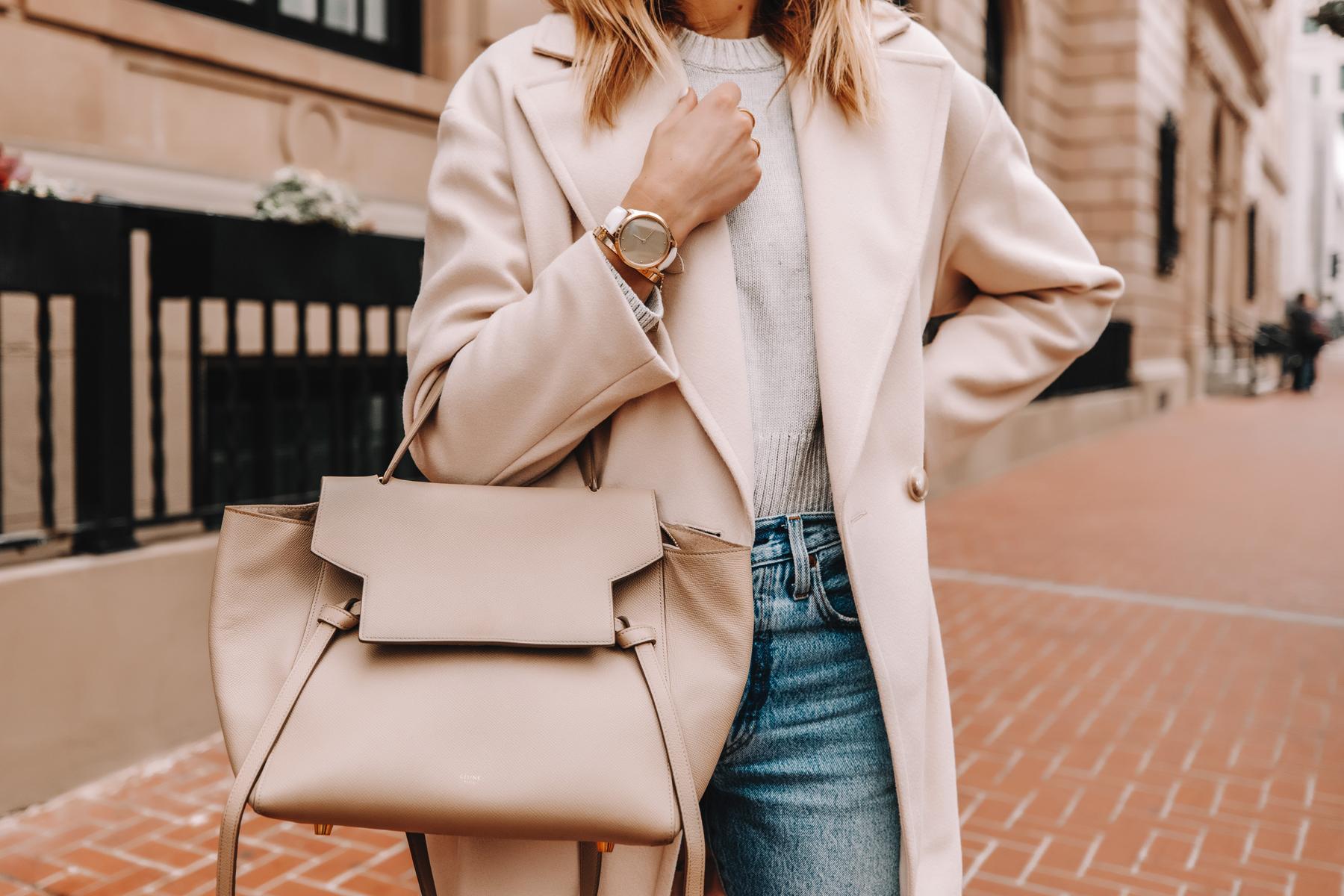 Fashion Jackson Wearing Beige Coat Grey Sweater Celine Belt Bag Garmin Vivomove Luxe Watch