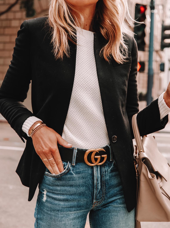 Fashion Jackson Wearing Black Blazer White Sweater Jeans Black Gucci Belt