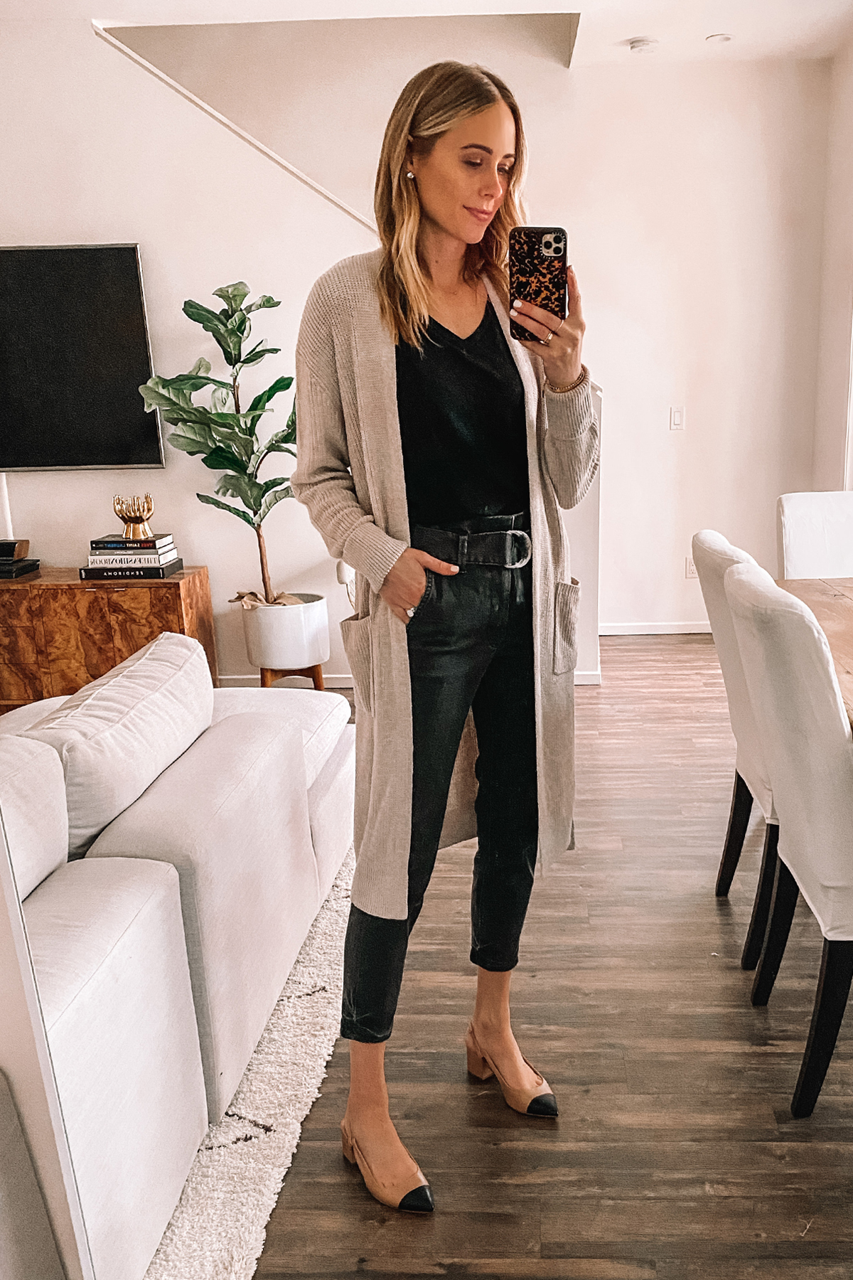 Fashion Jackson Wearing Black Cardigan Sweater Black Tshirt Grey Paperbag Waist Jeans Slingbacks Express Haul