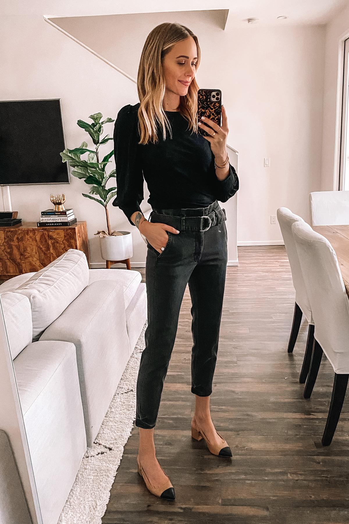 Fashion Jackson Wearing Black Knit Top Grey Paperbag Waist Jeans Slingbacks Express Haul