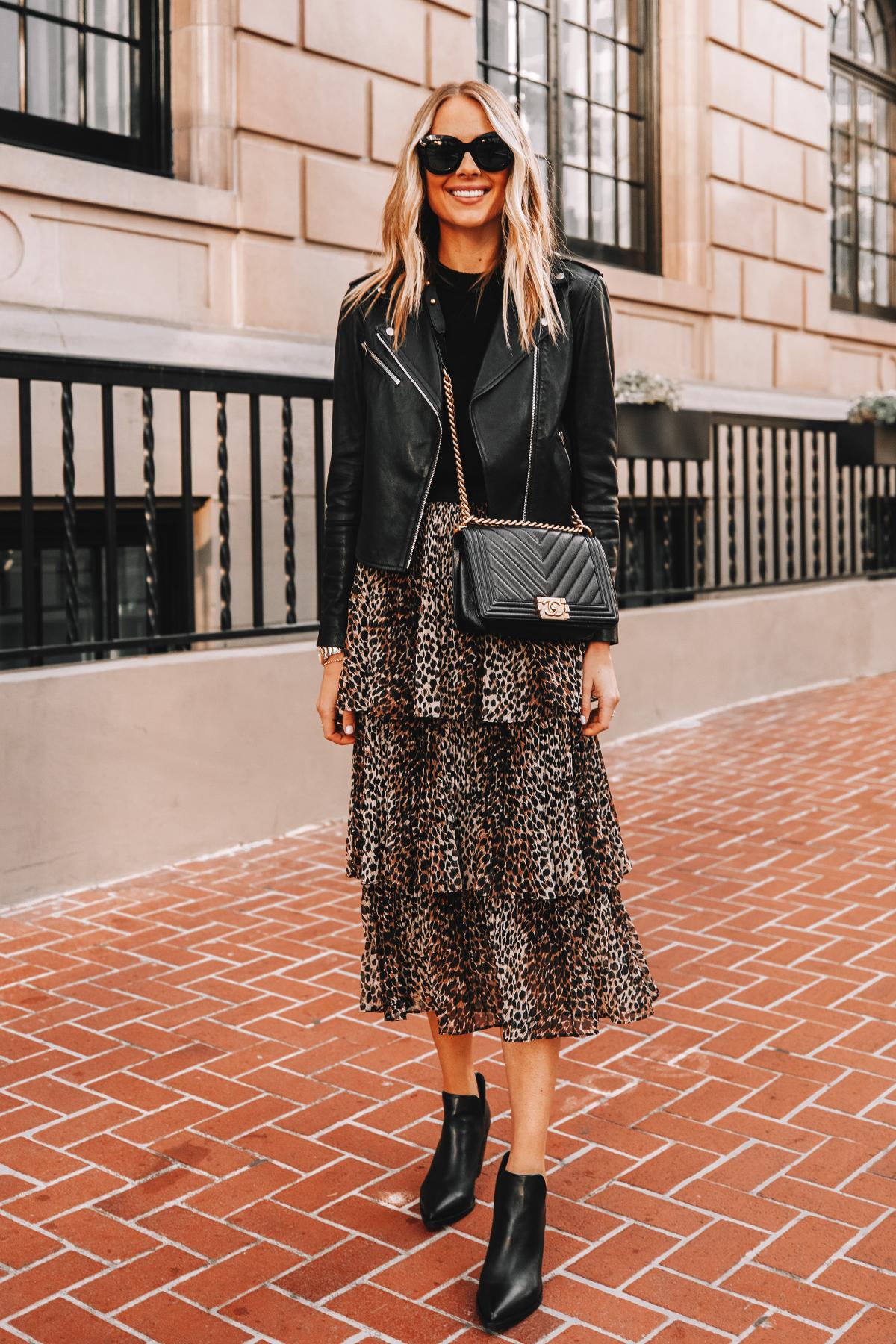 Fashion Jackson Wearing Black Leather Jacket Black Sweater Topshop Leopard Midi Skirt Black Booties Chanel Boy Bag