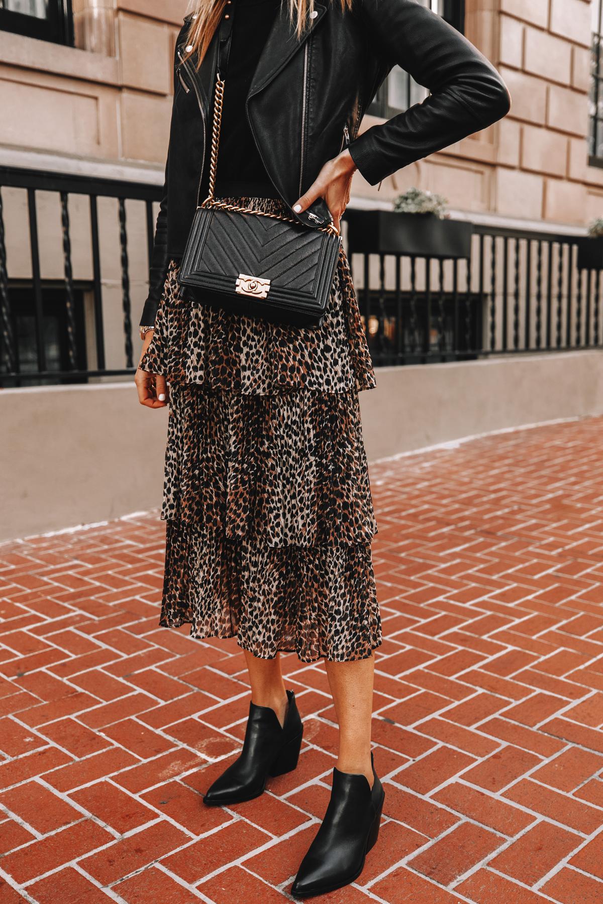 Fashion Jackson Wearing Black Leather Jacket Black Sweater Topshop Leopard Tiered Midi Skirt Black Leather Booties