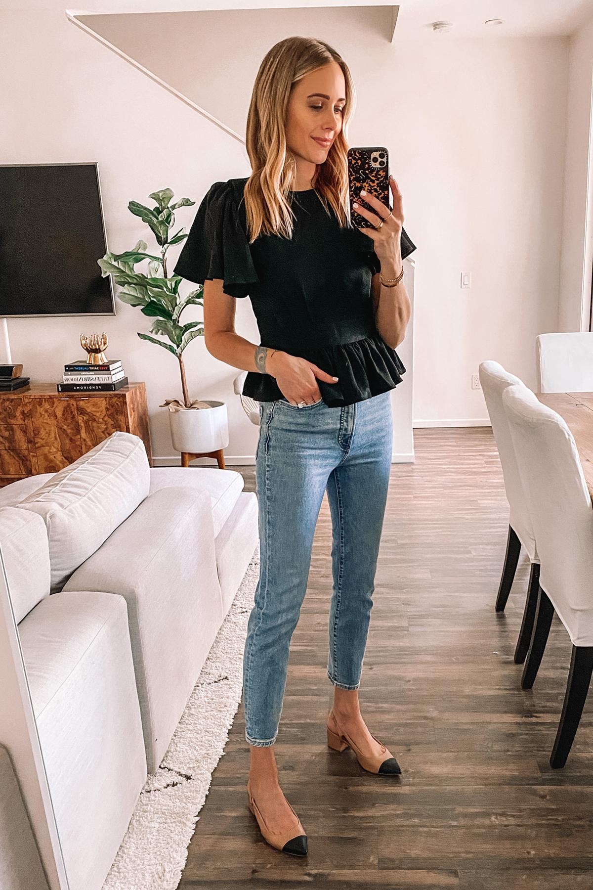 Fashion Jackson Wearing Black Peplum Top Slim Leg Jeans Slingbacks Express Haul