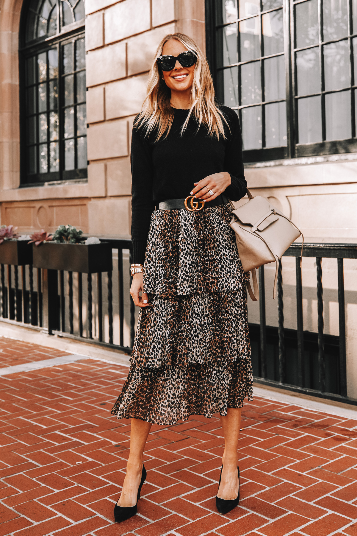 Fashion Jackson Wearing Black Sweater Topshop Leopard Midi Skirt Gucci Belt Black Pumps Workwear Outfit