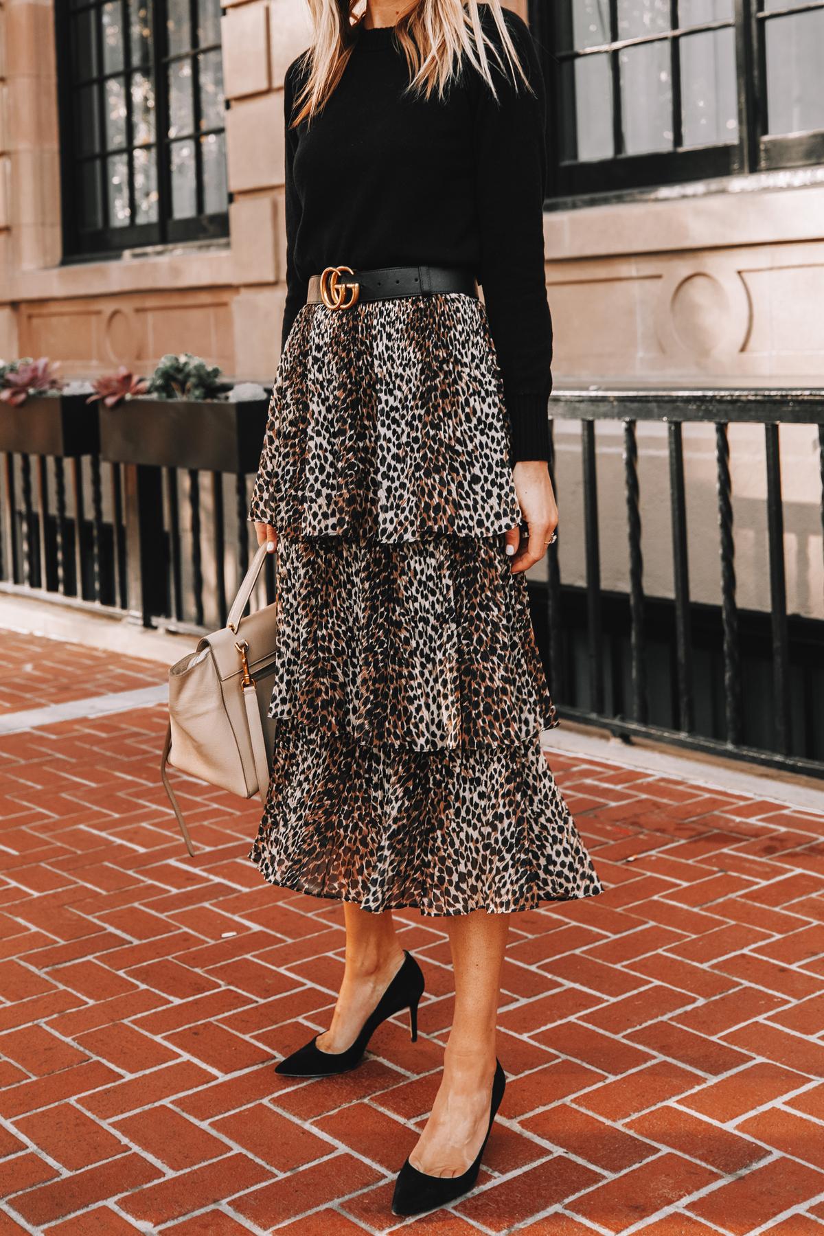 Fashion Jackson Wearing Black Sweater Topshop Leopard Tiered Midi Skirt Black Pumps