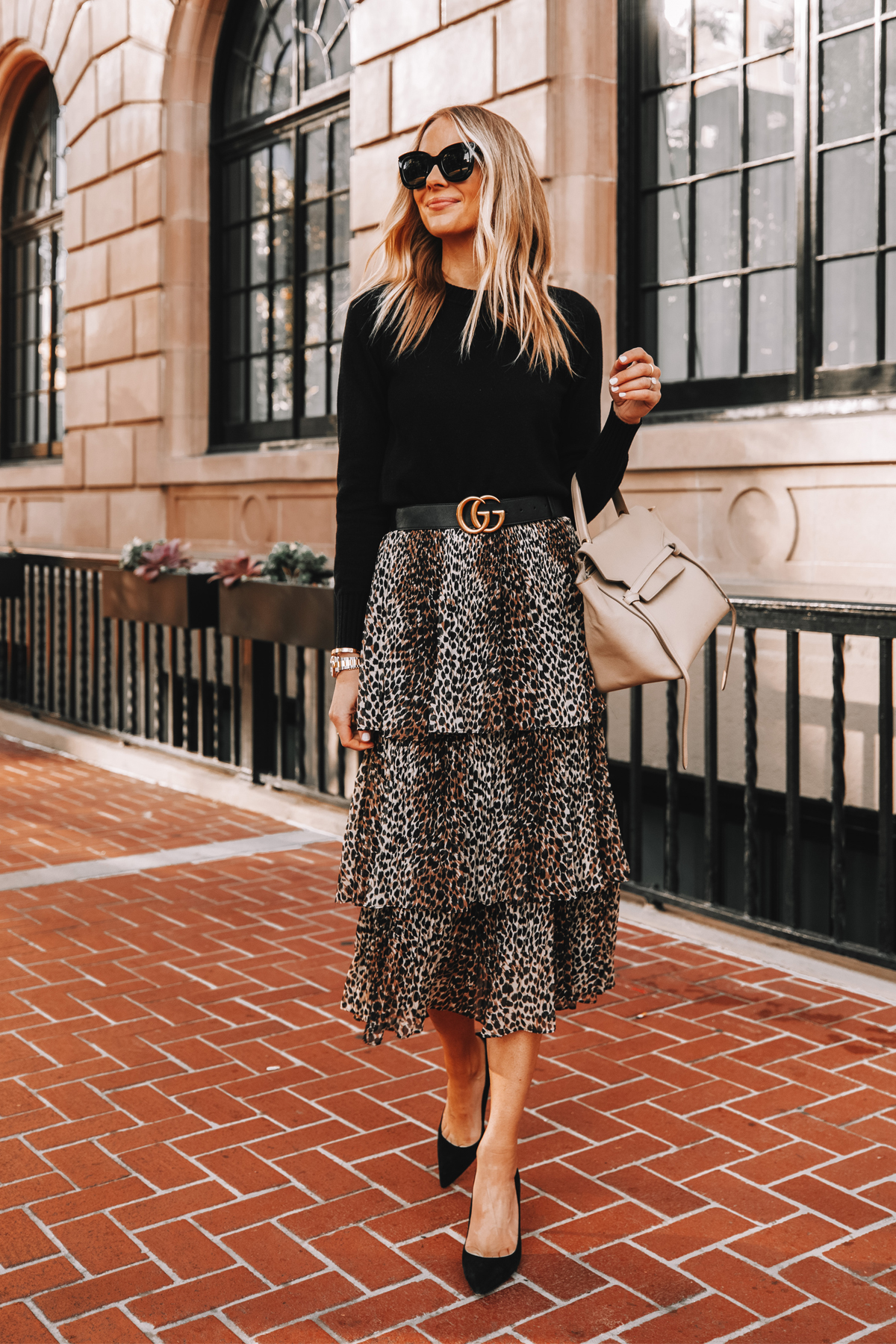 Fashion Jackson Wearing Black Sweater Topshop Leopard Tiered Midi Skirt Gucci Belt Black Pumps Celine Belt Bag Workwear Outfit
