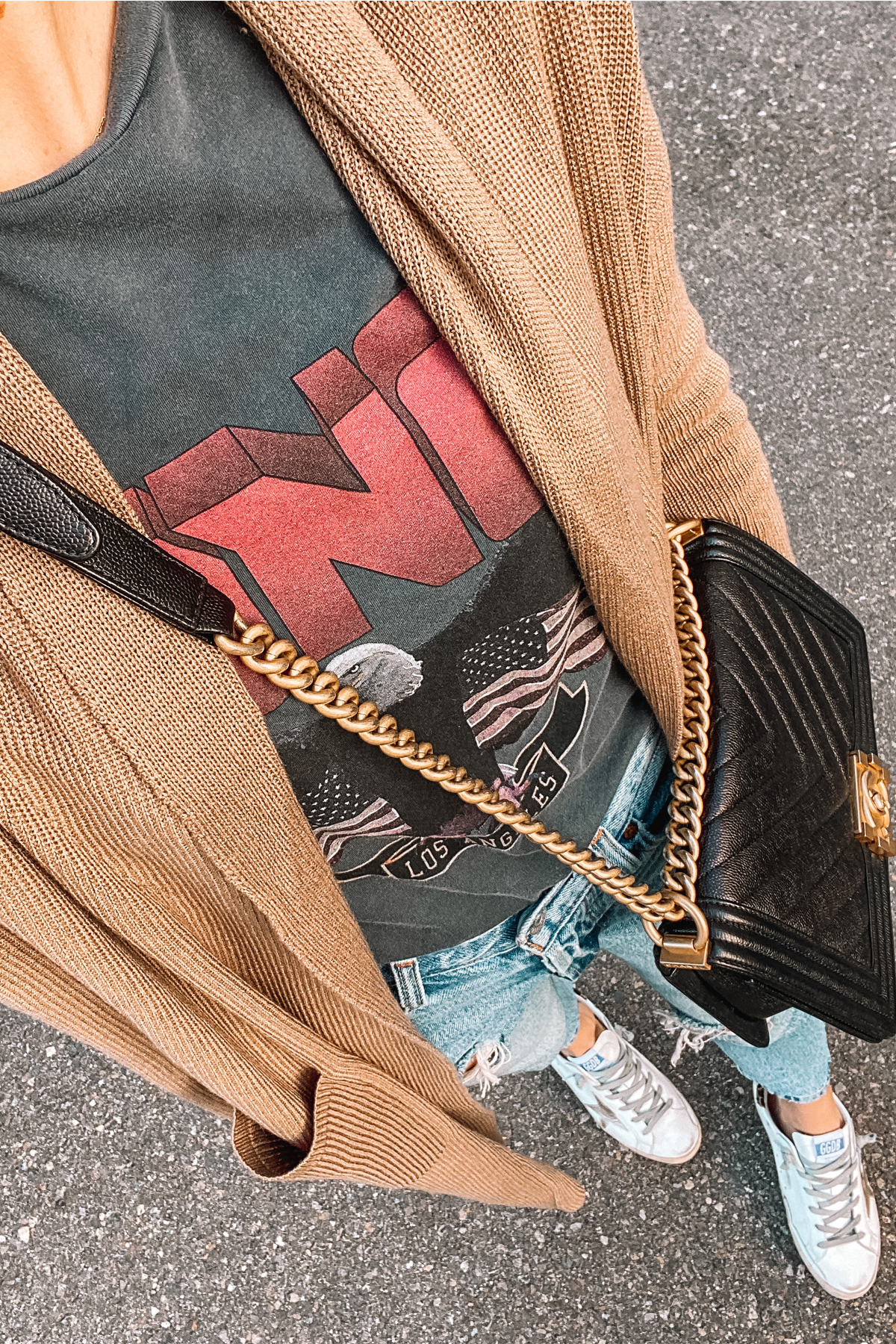 Fashion Jackson Wearing Camel Cardigan Amazon Sweater Ripped Jeans Veja Sneakers