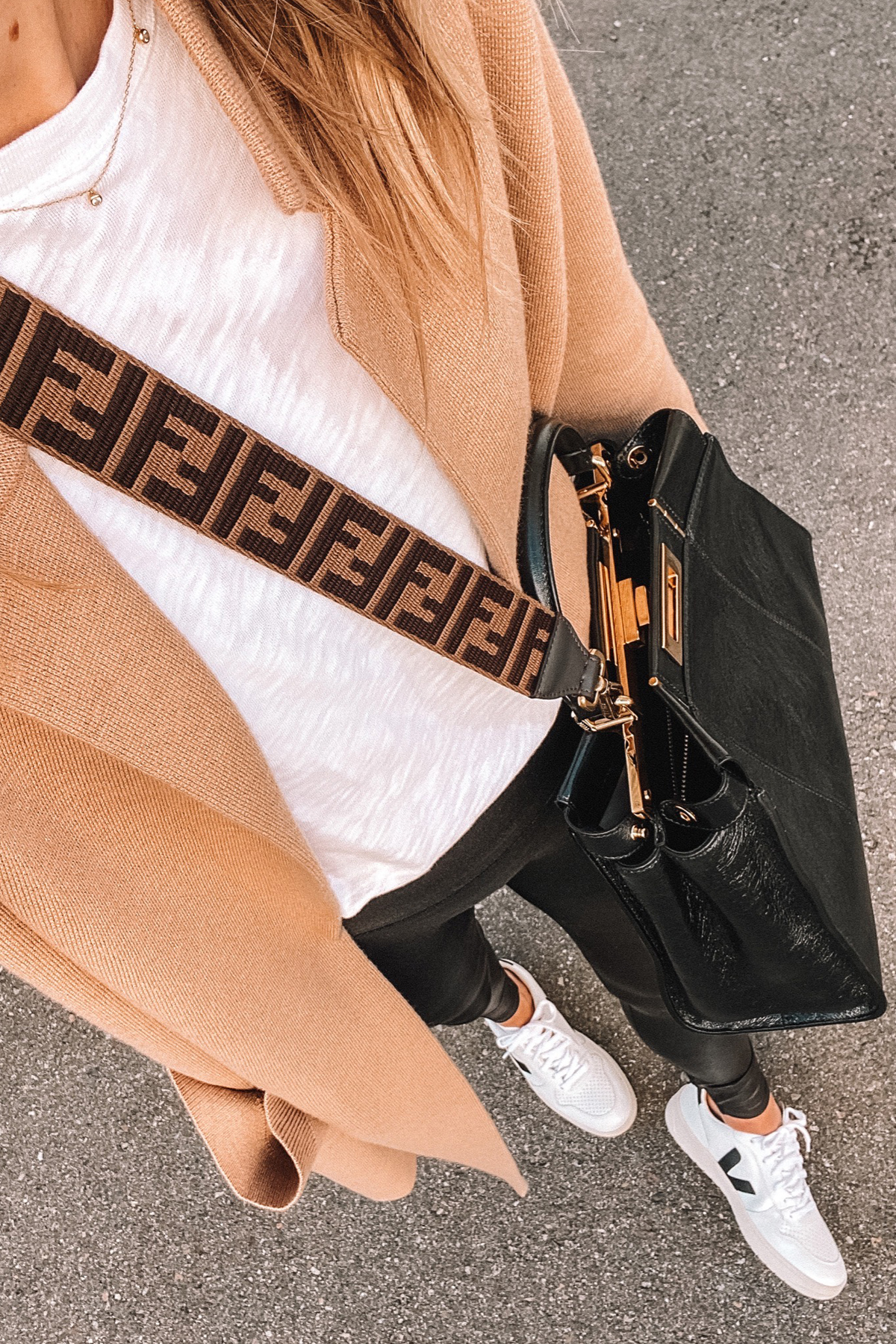 Fashion Jackson Wearing Camel Cardigan White Tshirt Black Leggings Veja Sneakers Fendi Handbag