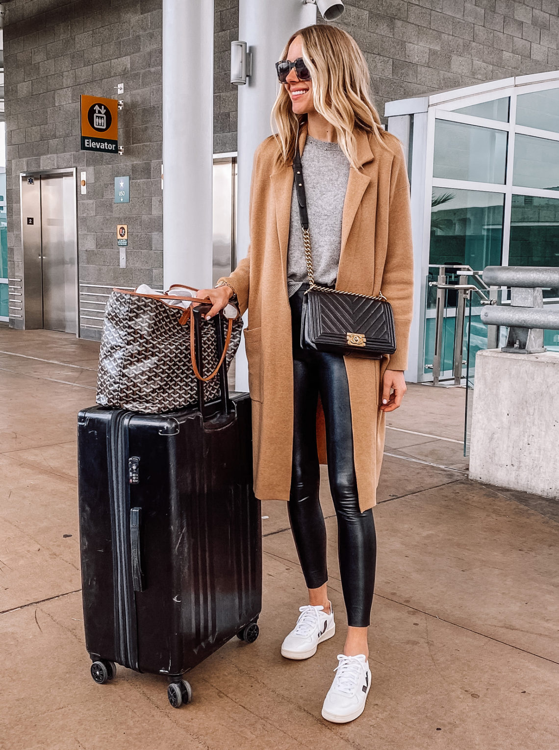 Fashion Jackson Wearing Camel Coatigan Faux Leather Leggings Veja Sneakers Travel Outfit Aiport Style