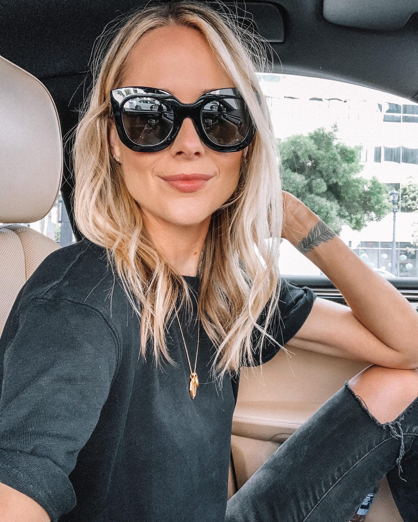 Fashion Jackson Wearing Celine Black Sunglasses