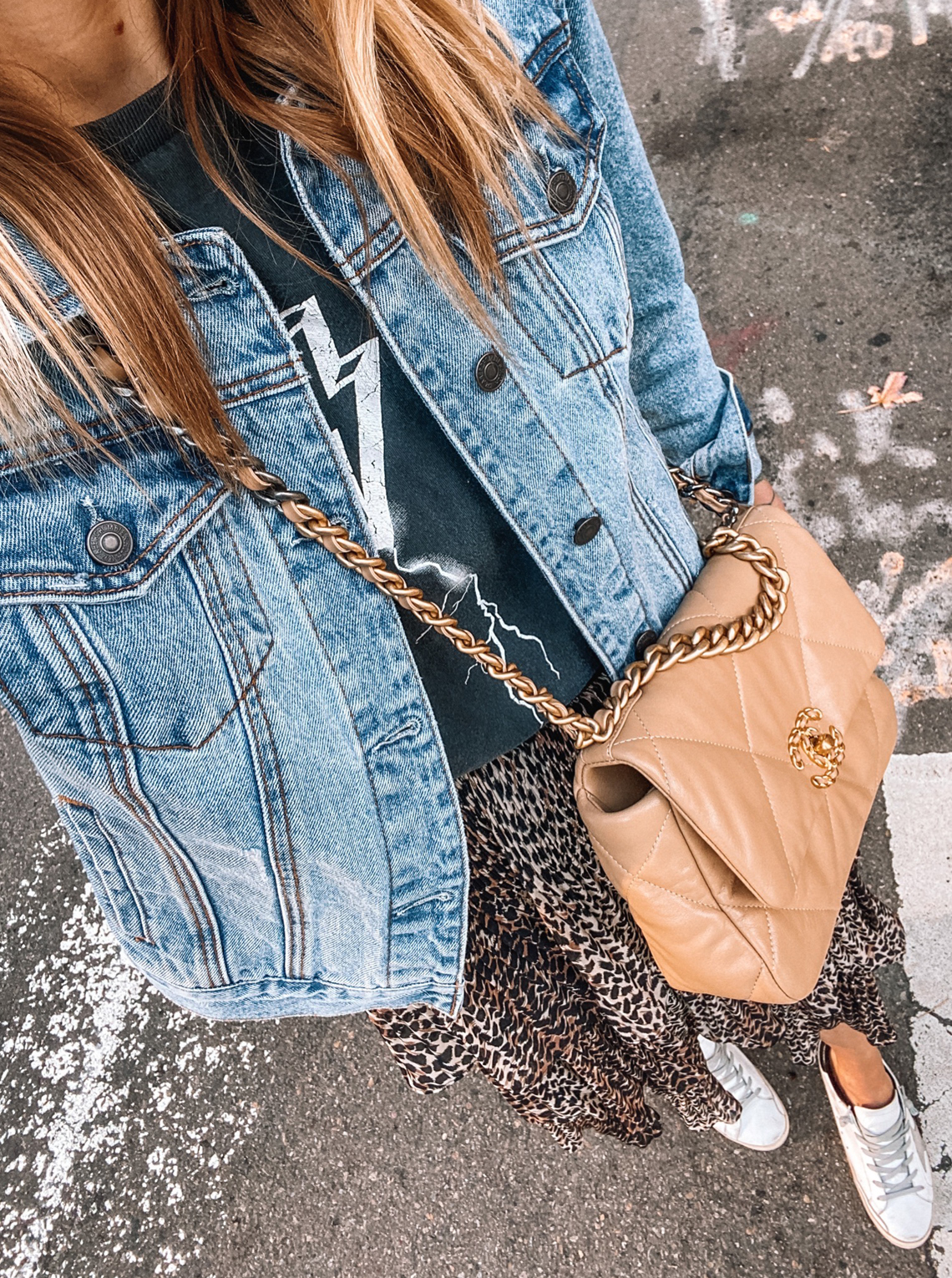 Fashion Jackson Wearing Denim Jacket Anine Bing Graphic Tshirt Leopard Midi Skirt Golden Goose Sneakers Chanel 19 Beige Handbag
