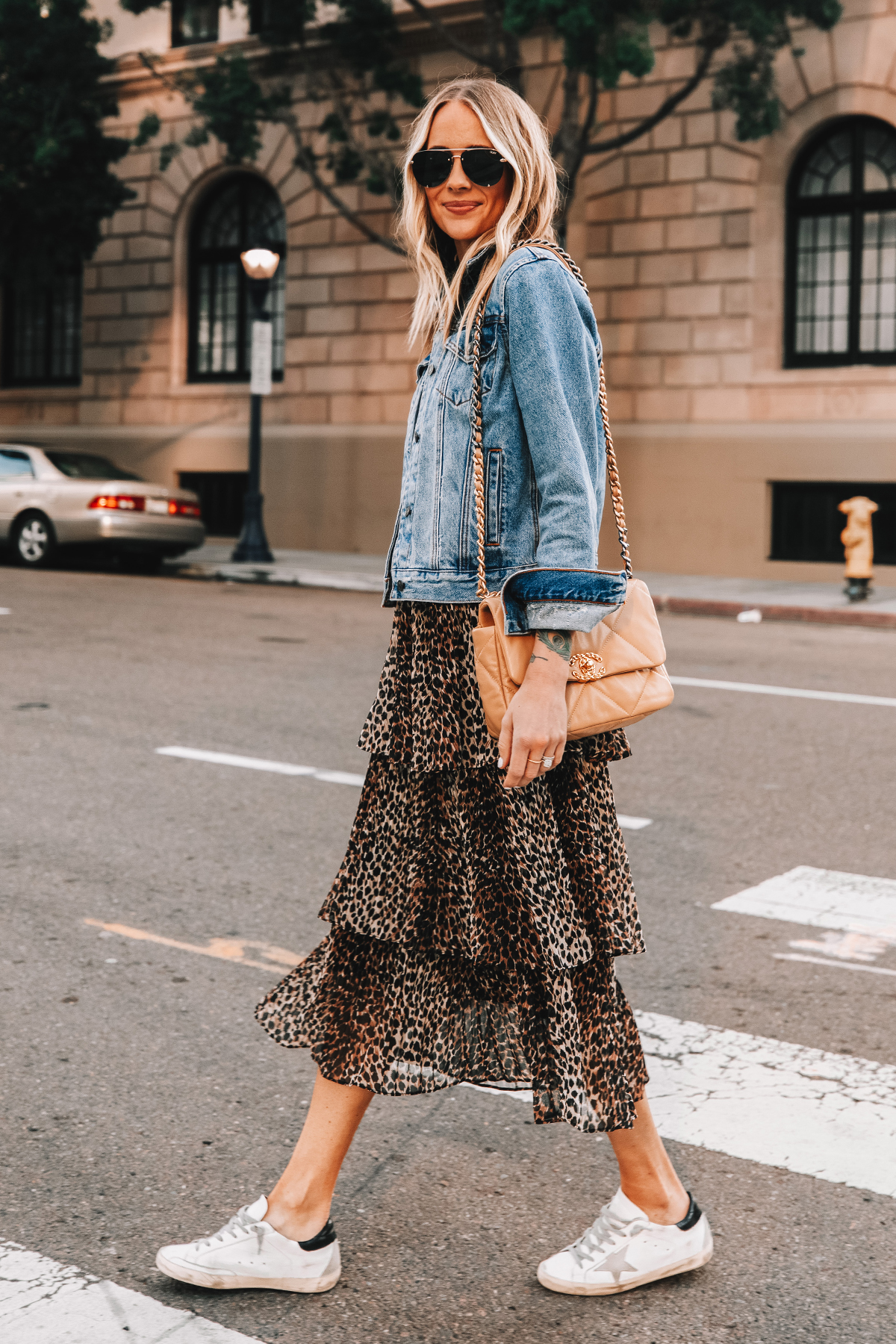 Fashion Jackson Wearing Denim Jacket Topshop Leopard Tiered Midi Skirt Golden Goose Sneakers Chanel 19 Handbag