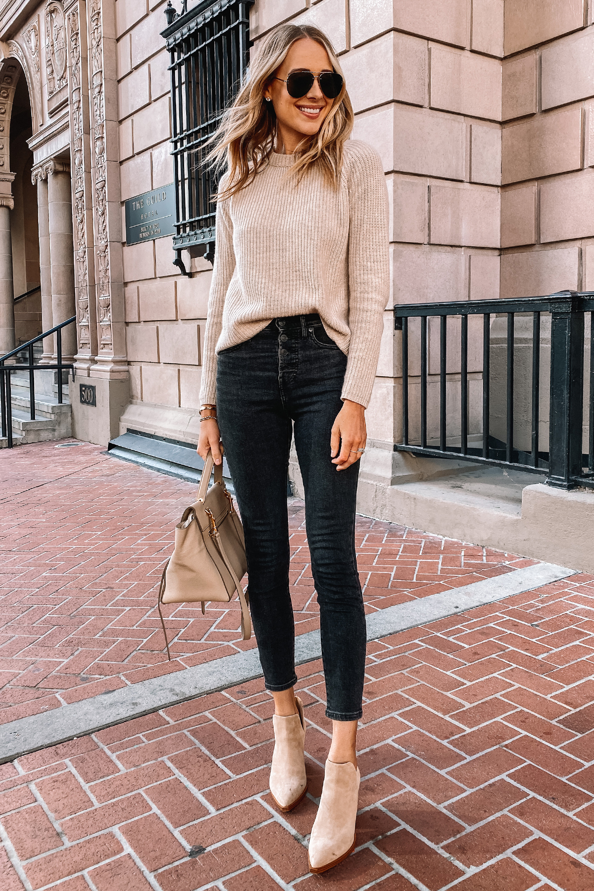 Fashion Jackson Wearing Everlane Button Front Jeans Beige Sweater Tan Suede Booties