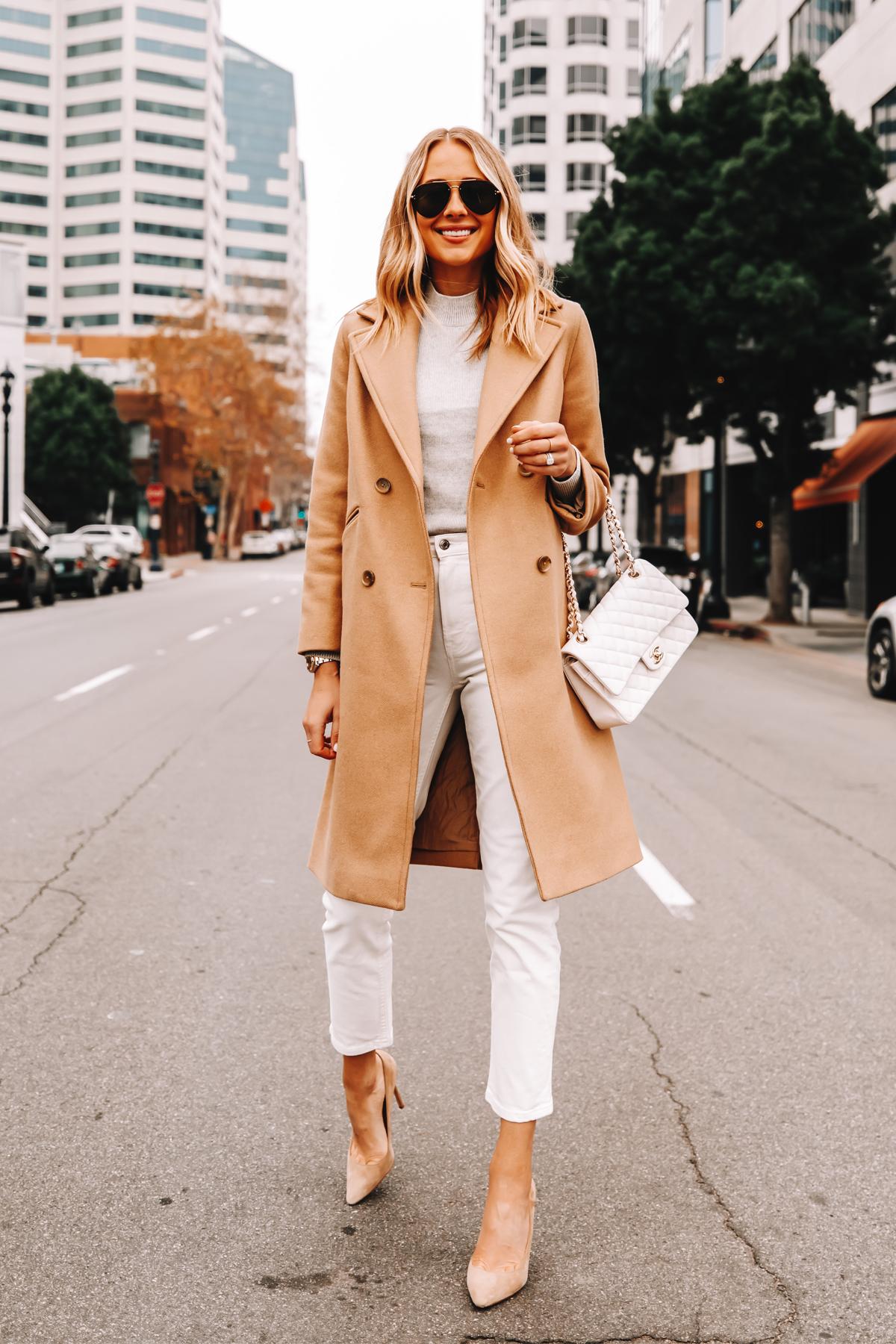 Fashion Jackson Wearing Everlane Camel Coat Grey Sweater White Jeans Nude Pumps 1