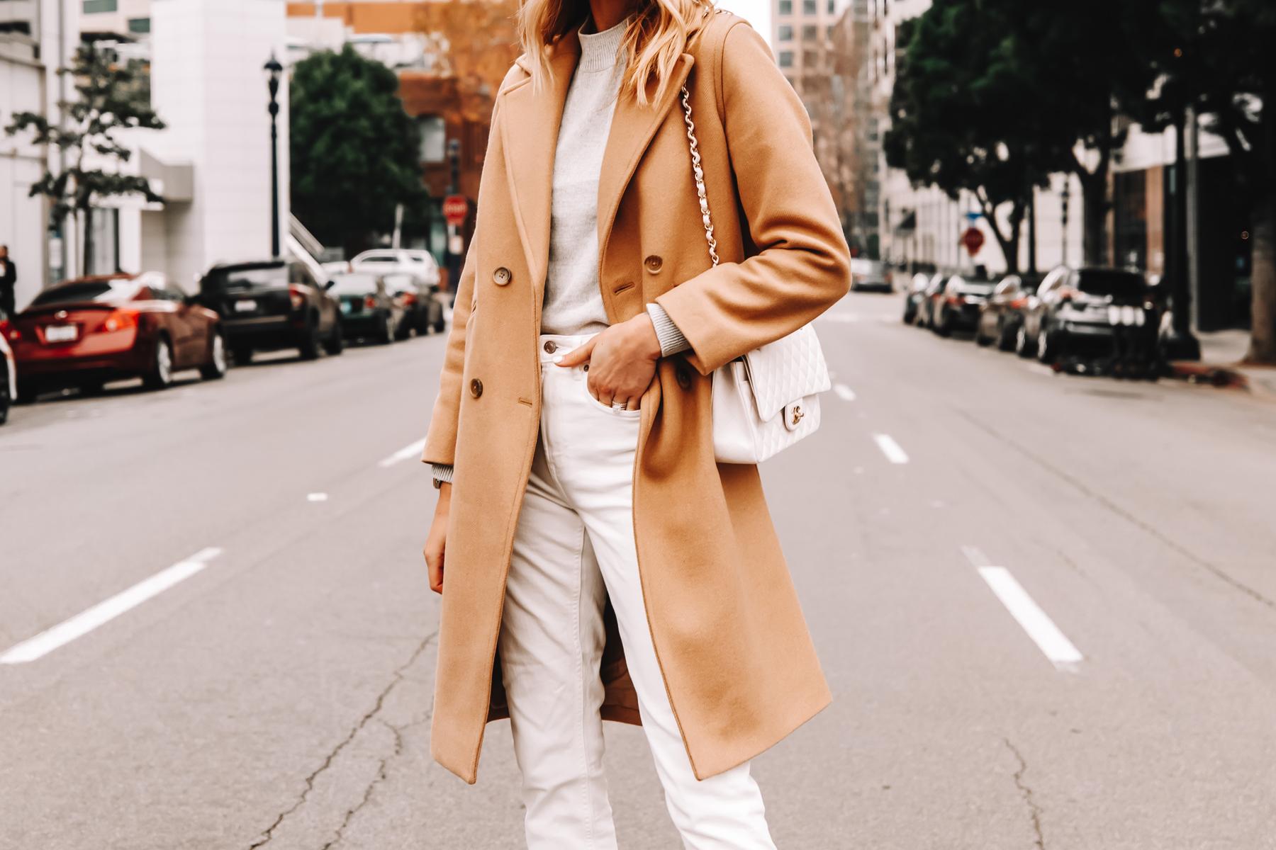 Fashion Jackson Wearing Everlane Camel Coat Grey Sweater White Jeans Nude Pumps White Chanel Handbag 1