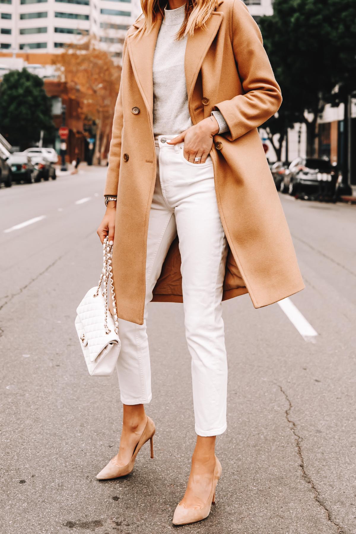 Fashion Jackson Wearing Everlane Camel Coat Grey Sweater White Jeans Nude Pumps White Chanel Handbag 2