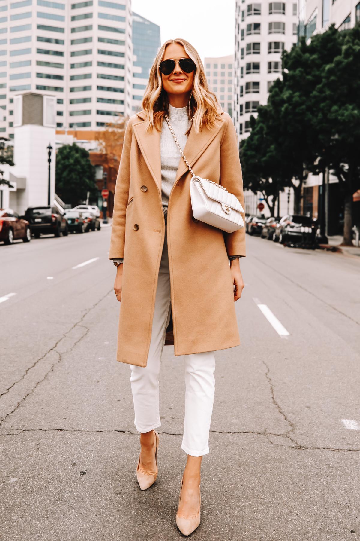 Fashion Jackson Wearing Everlane Camel Coat Grey Sweater White Jeans Nude Pumps White Chanel Handbag
