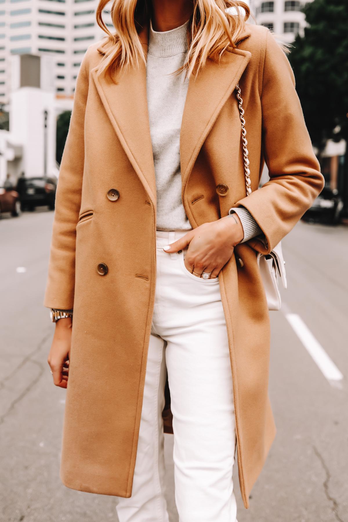 Fashion Jackson Wearing Everlane Camel Coat Grey Sweater White Jeans