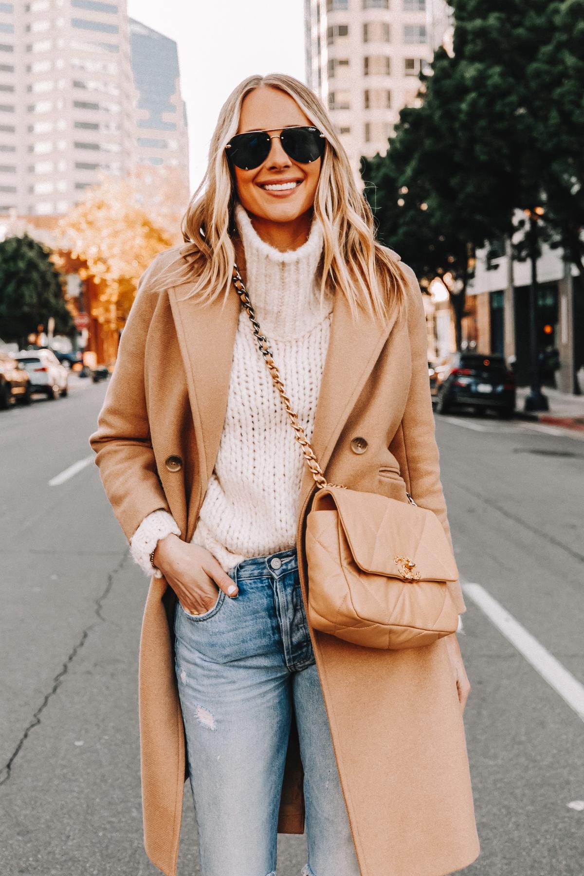 Fashion Jackson Wearing Everlane Camel Coat White Turtleneck Sweater Ripped JEans Chanel 19 Beige Handbag