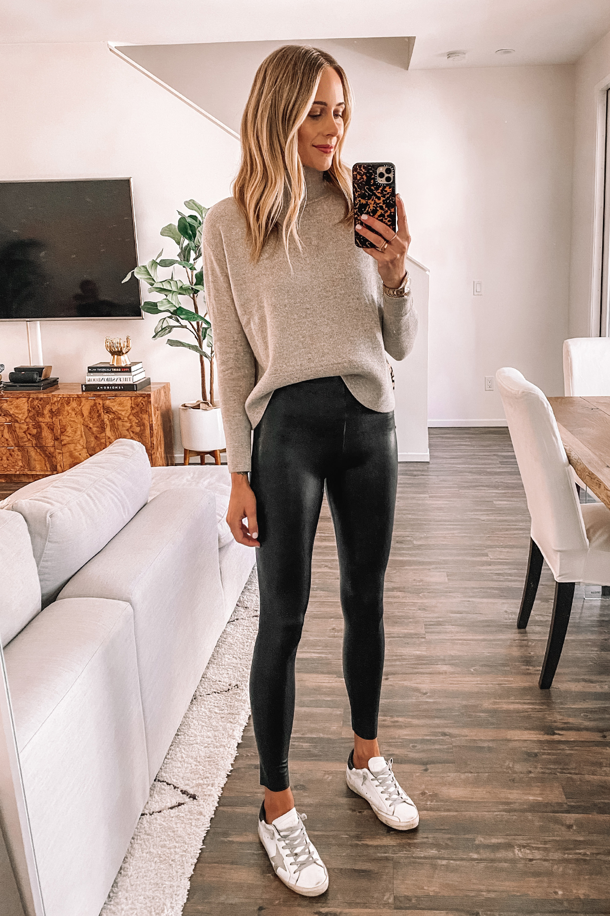 Fashion Jackson Wearing Everlane Taupe Turtleneck Sweater Commando Faux Leather Leggings Golden Goose Sneakers