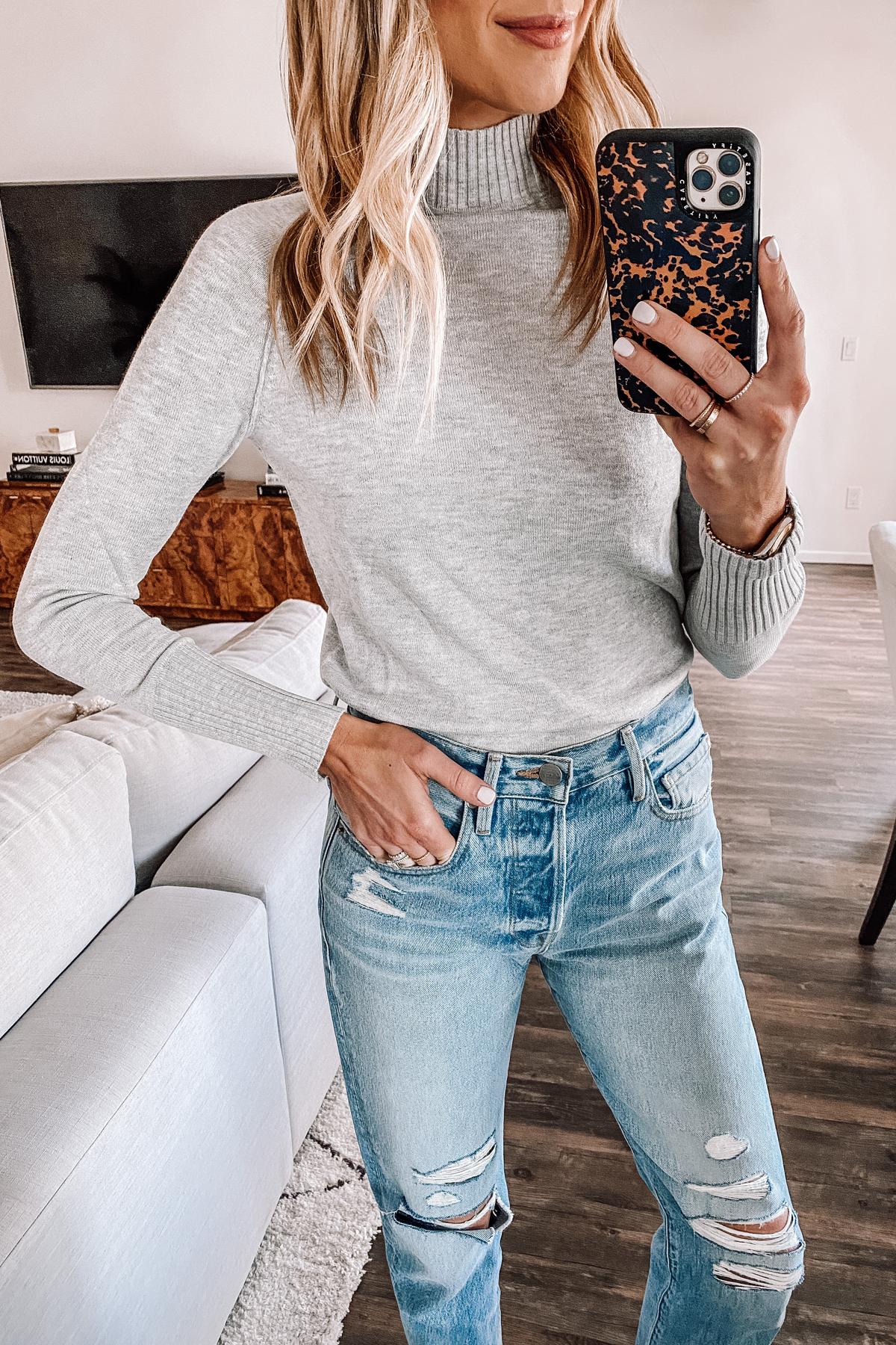 Fashion Jackson Wearing Grey Mock Neck Amazon Sweater Ripped Jeans
