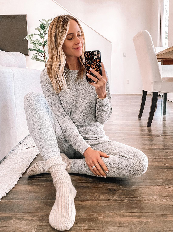 Fashion Jackson Wearing Grey Pajamas Cozy Socks