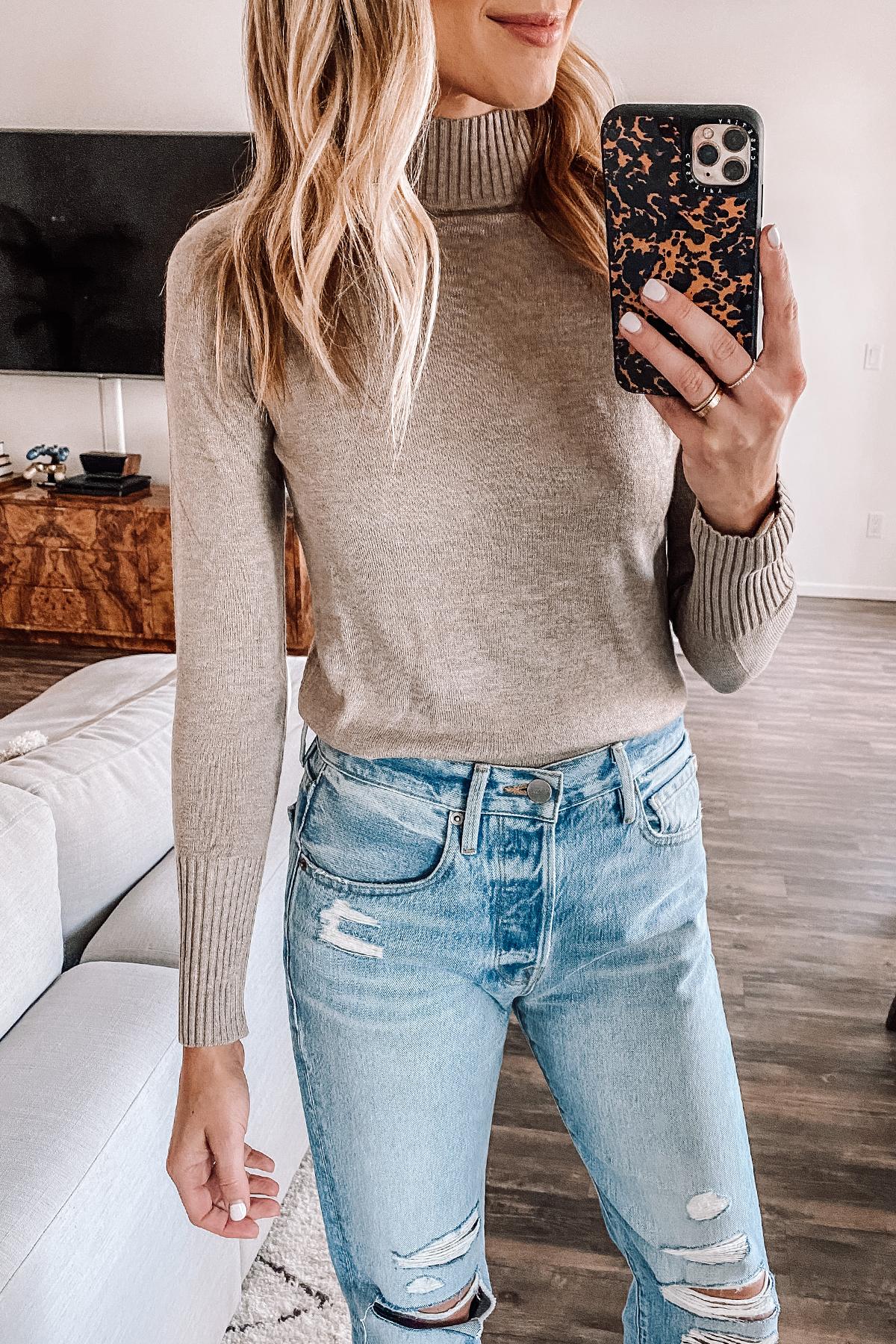 Fashion Jackson Wearing Taupe Mock Neck Amazon Sweater Ripped Jeans